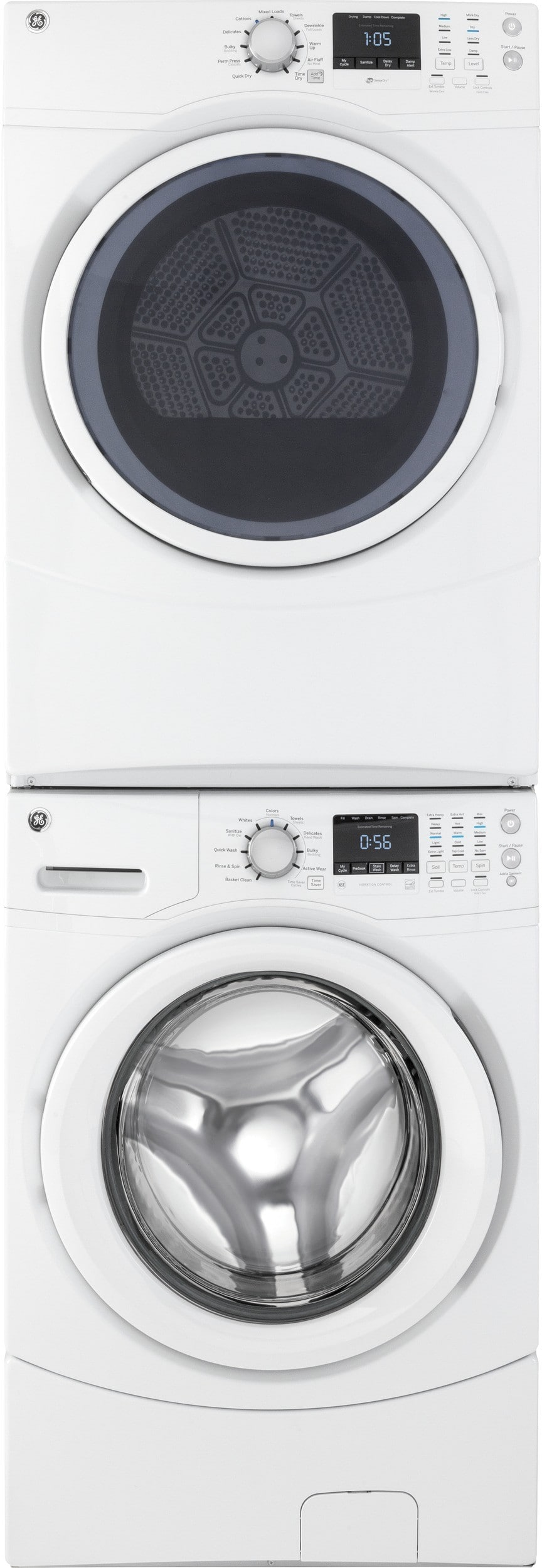 ge gewadrgw52 stacked washer dryer set with front load washer and gas dryer in white. Black Bedroom Furniture Sets. Home Design Ideas