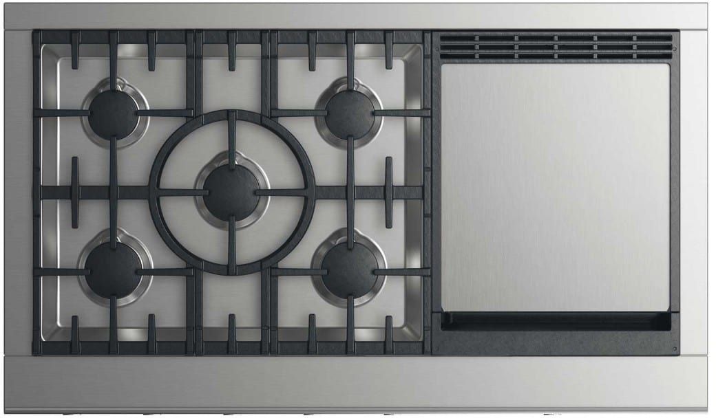 dcs cpv2485gdn 48 inch gas cooktop with 5 sealed burners up to btu cooking output griddle simmer setting on all burners and metal illuminated