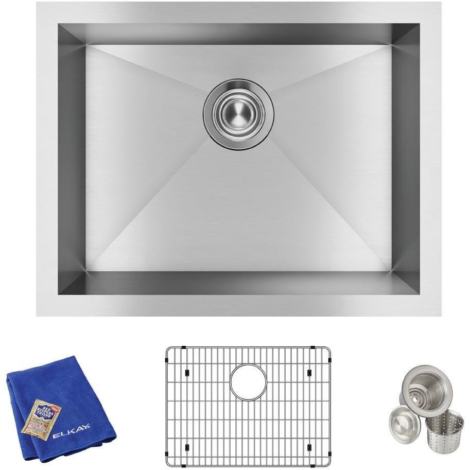 Elkay EFU211510TC 23 Inch Single Bowl Undermount Kitchen Sink Kit ...