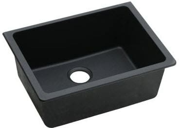 Elkay Elgu2522bk 25 Inch Undermount Kitchen Sink With 9 1 2 Inch Bowl Width Solid Granite Construction 3 1 2 Inch Drain Opening And Ansi Iapmo Z124 6
