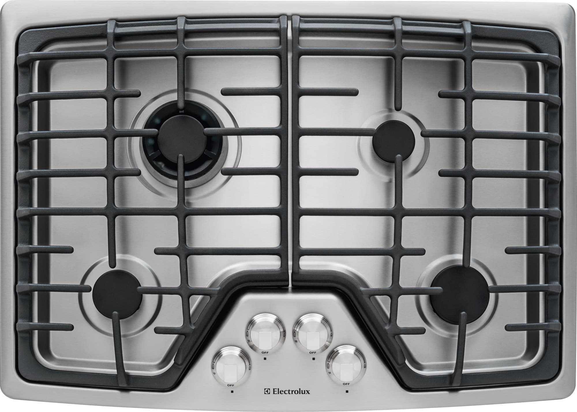 electrolux ew30gc55ps 30 inch gas cooktop with 4 sealed burners min2max dualflame sealed burner control knobs continuous cast iron