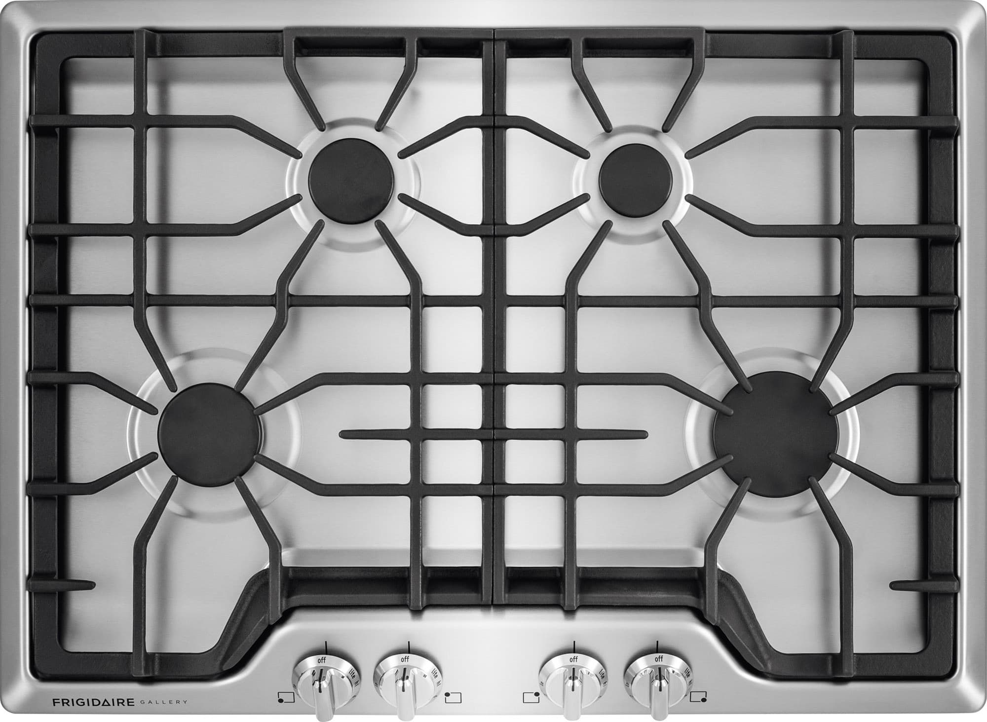 frigidaire fggc3045qs 30 inch gas cooktop with 4 sealed burners low simmer burner continuous dishwasher safe cast iron grates front angled - 30 Gas Cooktop