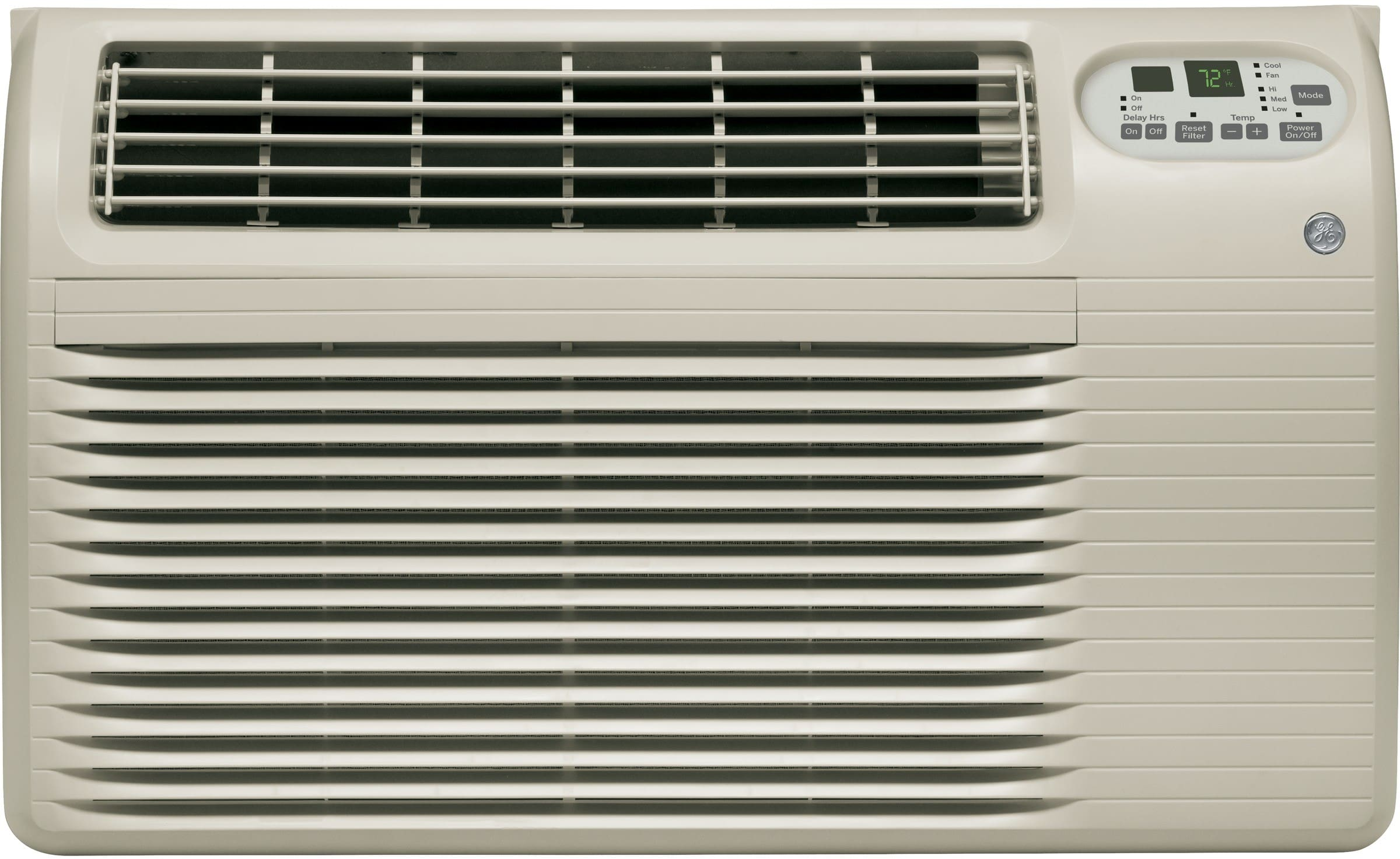 ge ajcq12dcg btu wall air conditioner with 270 cfm 106 eer 34 ptshr capacity washable filter 3 fan speeds electronic digital