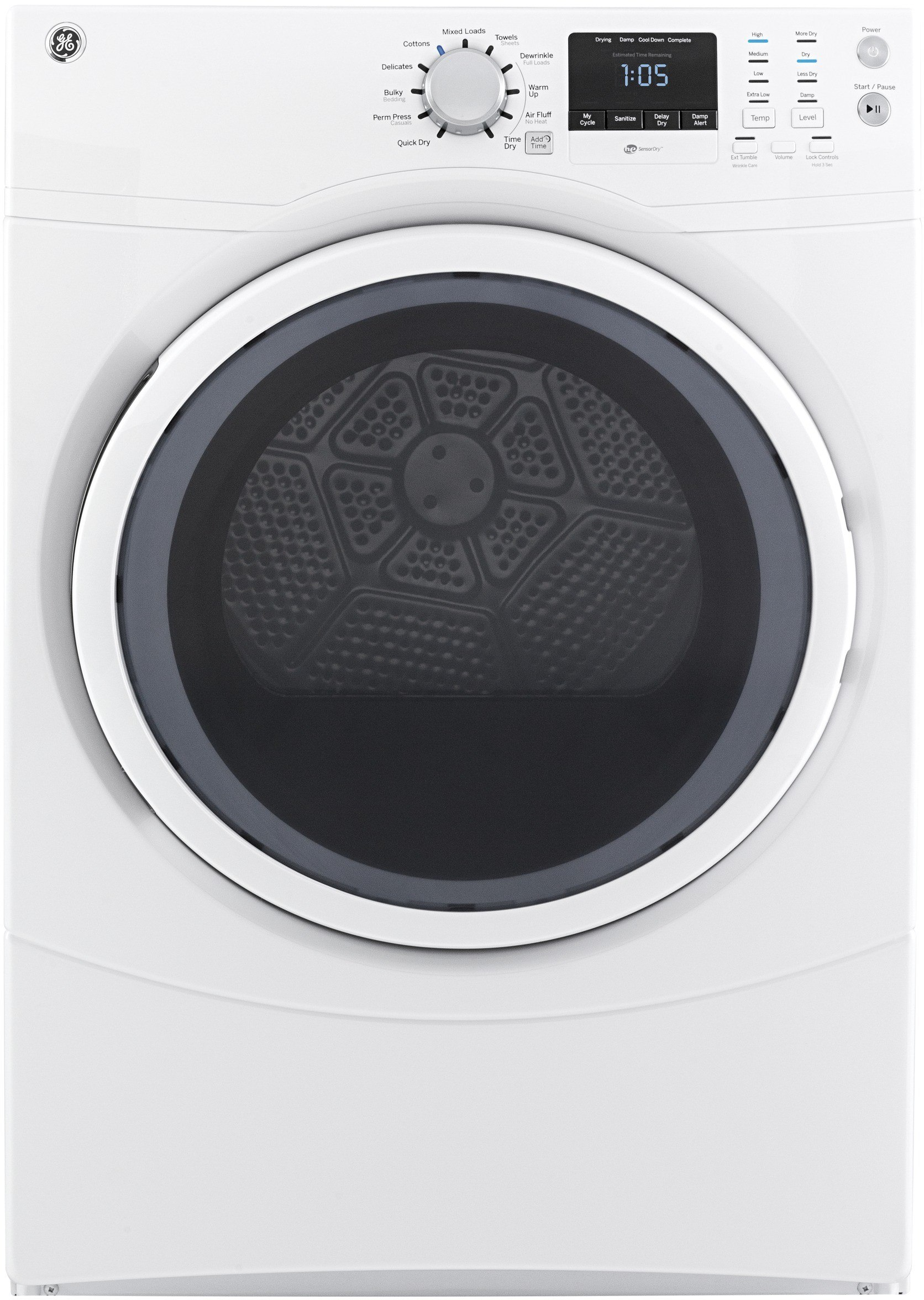 ge gfdn160ejww 27 inch 7 5 cu ft electric dryer with 11 dry cycles 4 heat selections quick. Black Bedroom Furniture Sets. Home Design Ideas