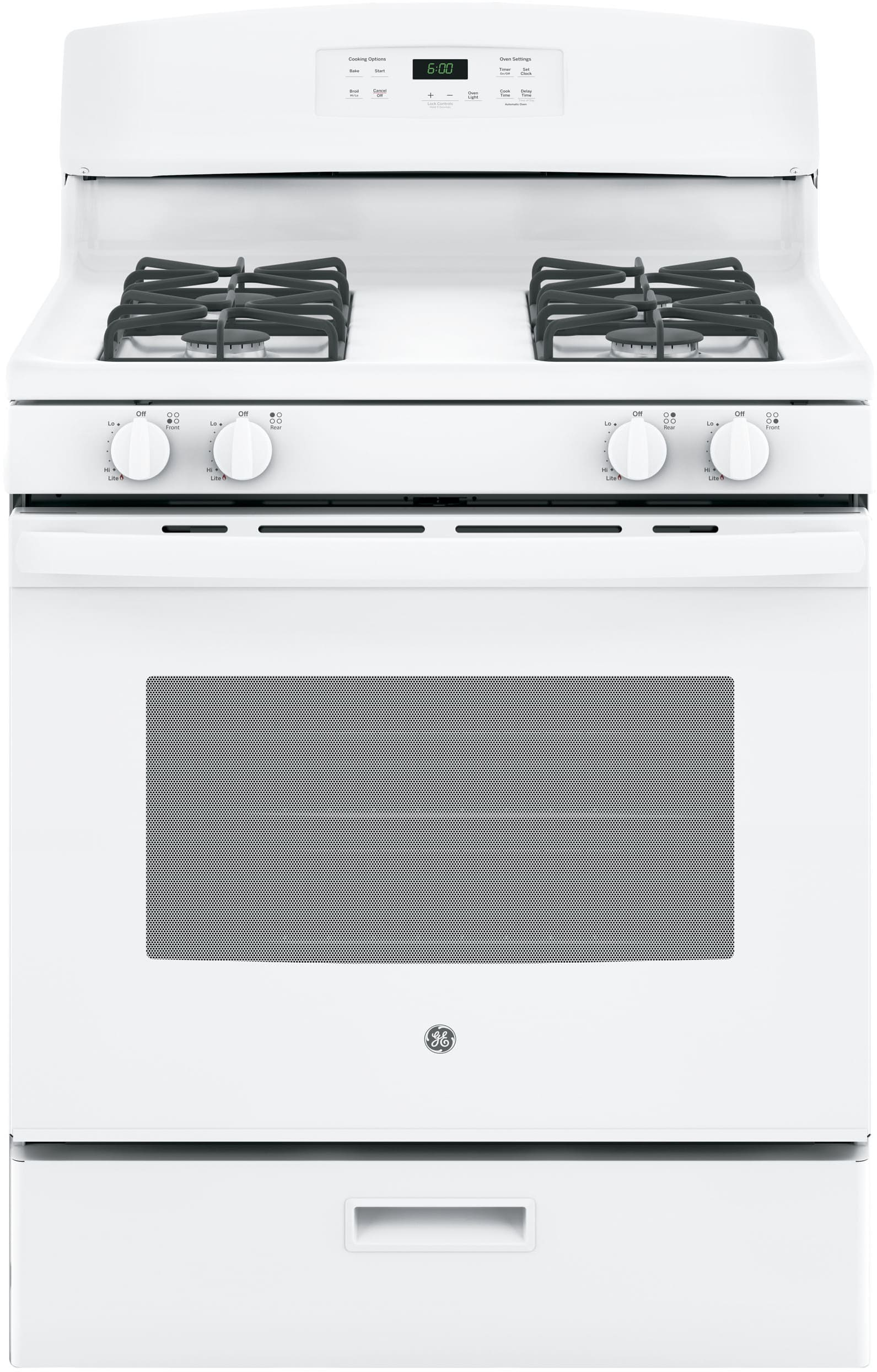 Ge Jgbs60dekww 30 Inch Freestanding Gas Range With Precise Simmer Hi Cook Burner Power Broiler Drawer 48 Cu Ft Capacity 4 Sealed Burners And Star K