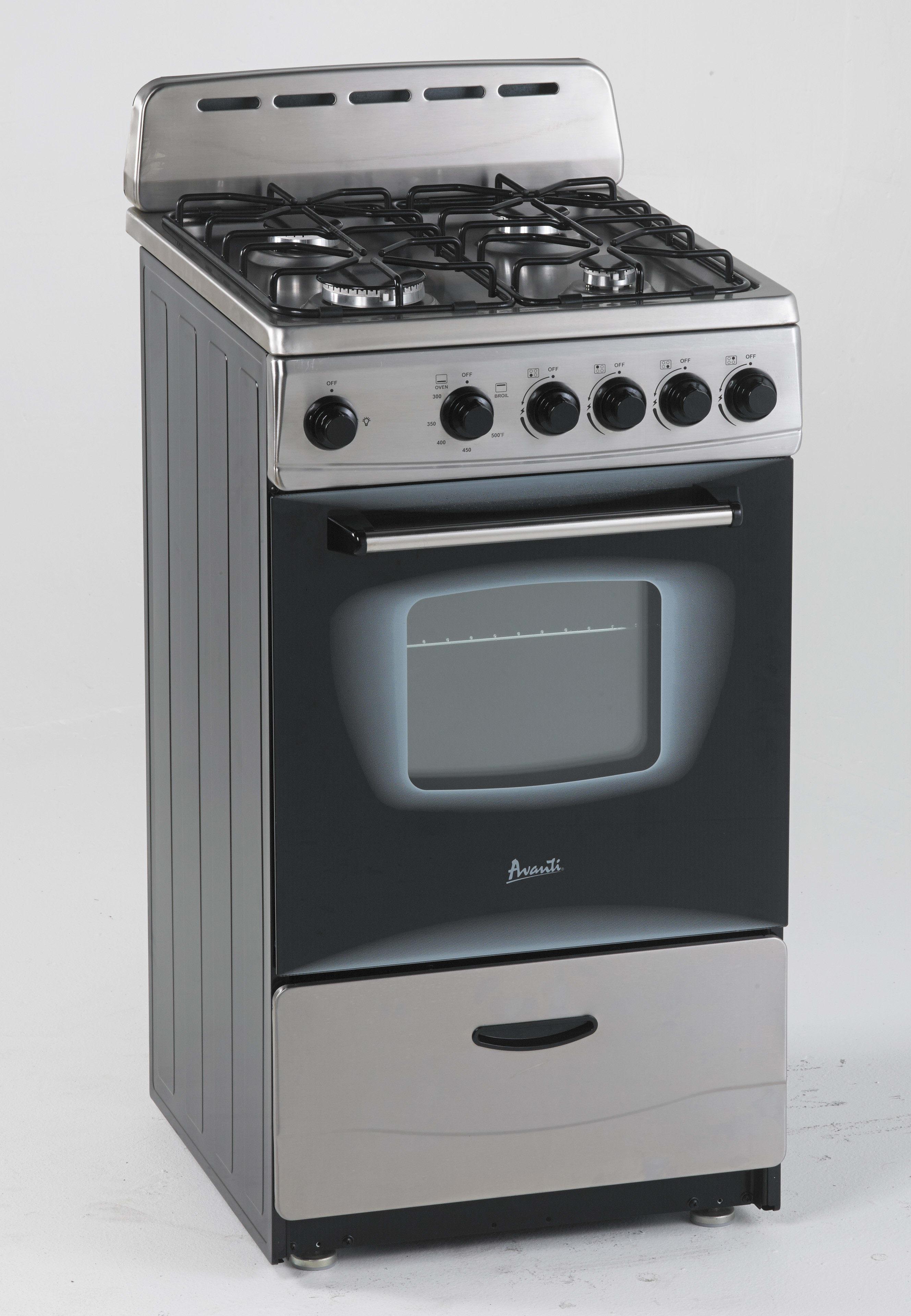 Avanti GR2013CSS 20 Inch Freestanding Gas Range With 2.1 Cu Ft. Capacity, 4  Sealed Burners, Waist High Broiler, Backsplash, LP Conversion Kit, ...