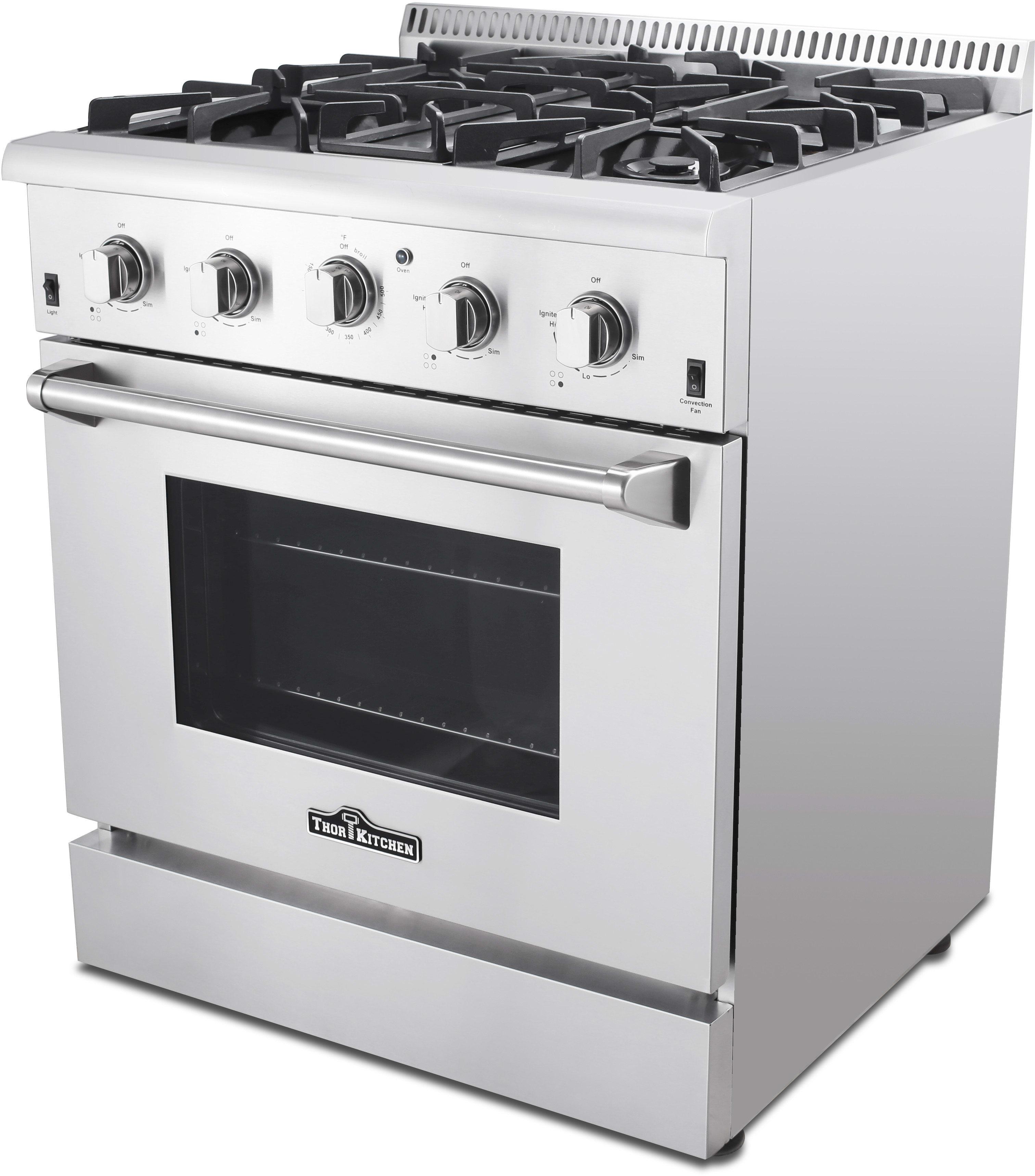 Thor Kitchen HRG3080U 30 Inch Freestanding Gas Range with Convection ...