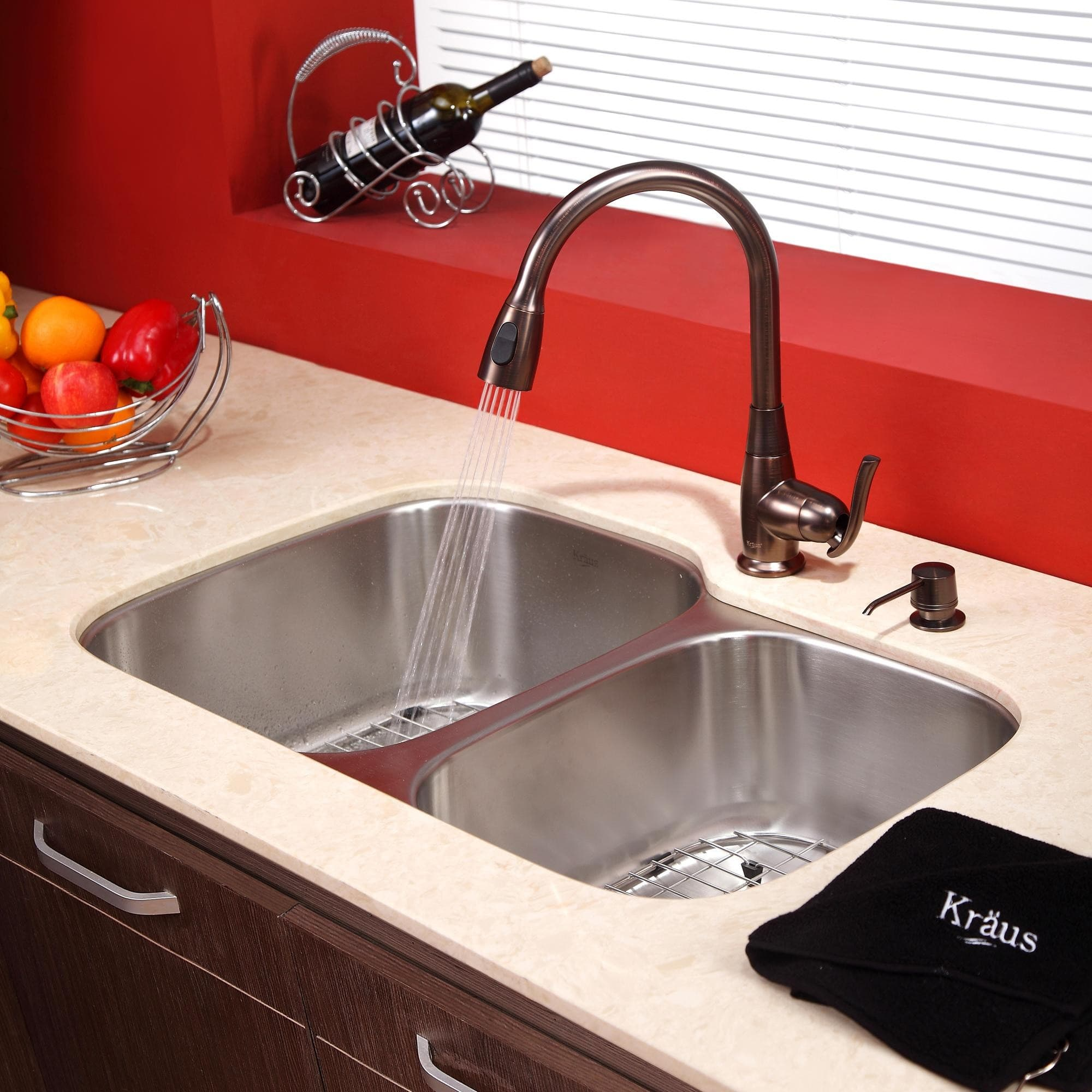 ... Undermount Double Bowl Stainless Steel Sink With Pull Down Faucet,  Hi Arc Spray Head, 2.2 GPM Flow Rate, Basket Strainer, Bottom Grid, Soap  Dispenser ...