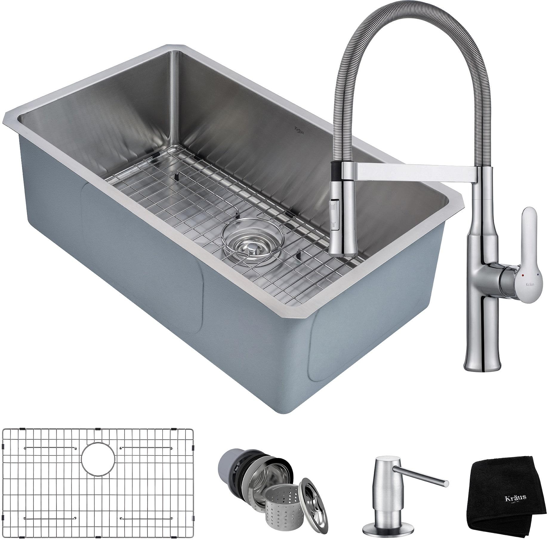 Kraus KHU10030164042CH 30 Inch Kitchen Sink and Flex Commercial ...