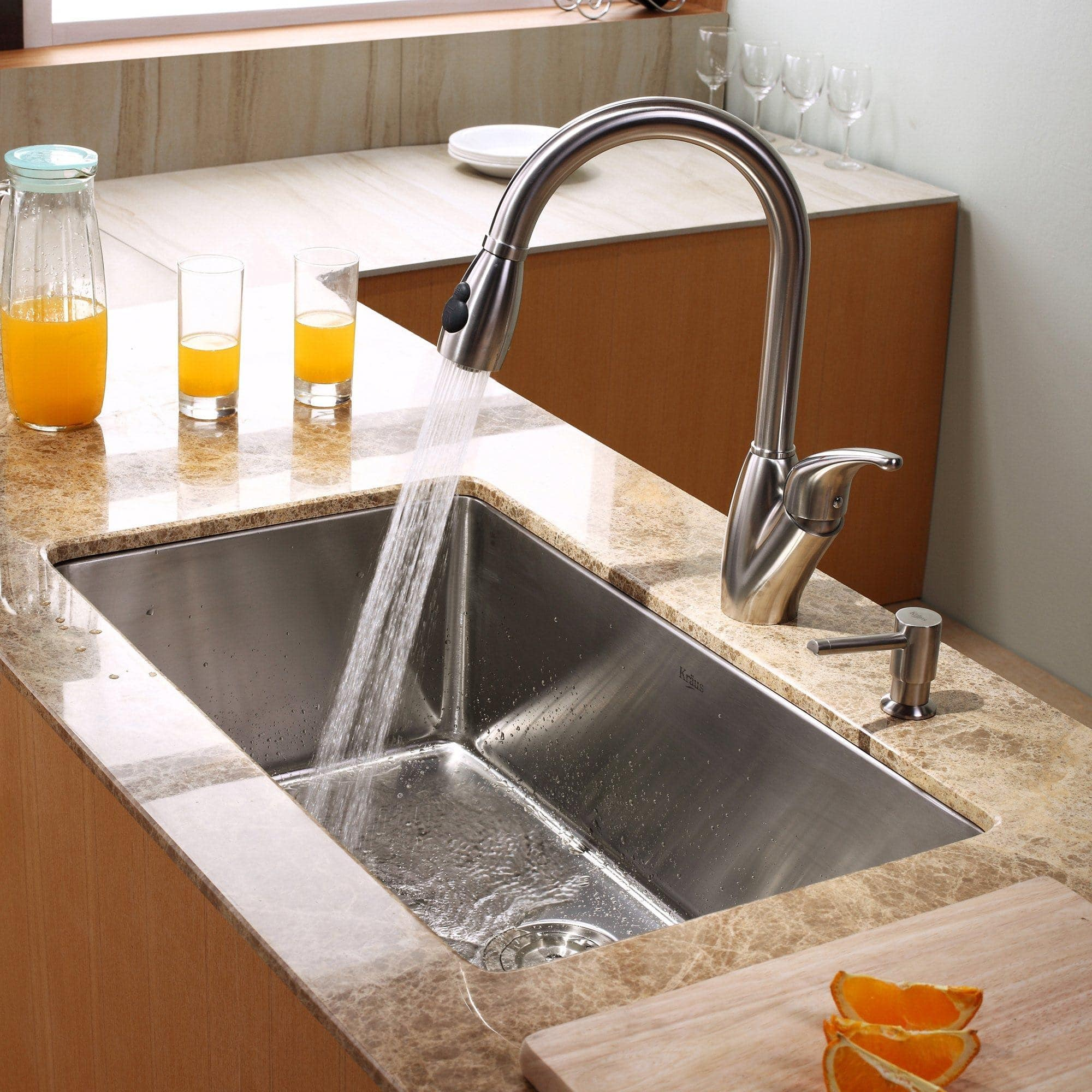 Kraus KHU10030KPF2120SD20 30 Inch Undermount Single Bowl Stainless Steel  Kitchen Sink With 16 Gauge, 10 Inch Bowl Depth, Rear Set Drain Opening And  Stone ...