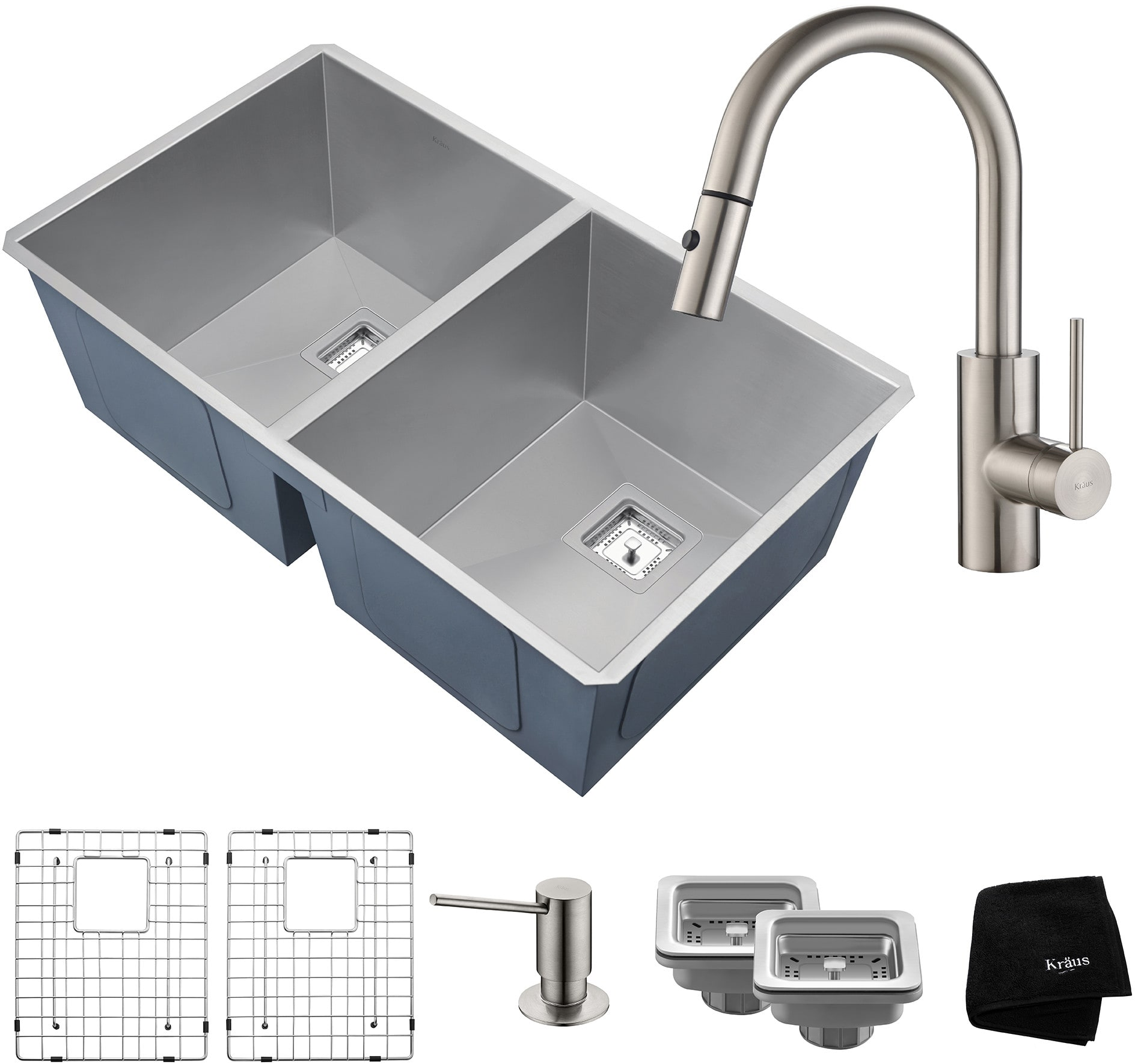 kitchen sink and faucet combo kraus khu322262041ss 31 inch bowl kitchen sink and 8431