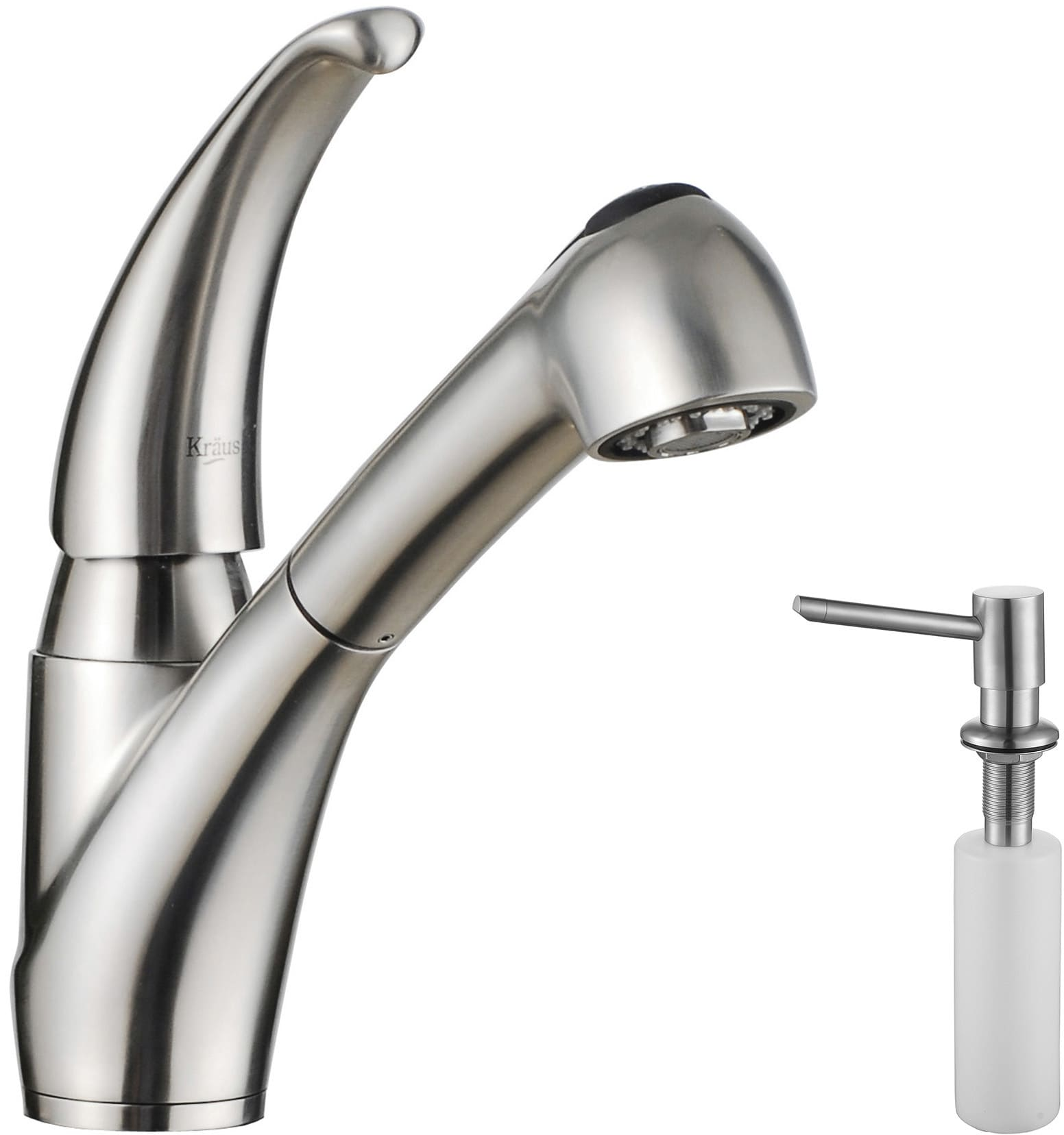 Kraus kpf2110sd20 single lever stainless steel pull out kitchen faucet with 360 degree swivel spout 28 inch hose length and ada compliant