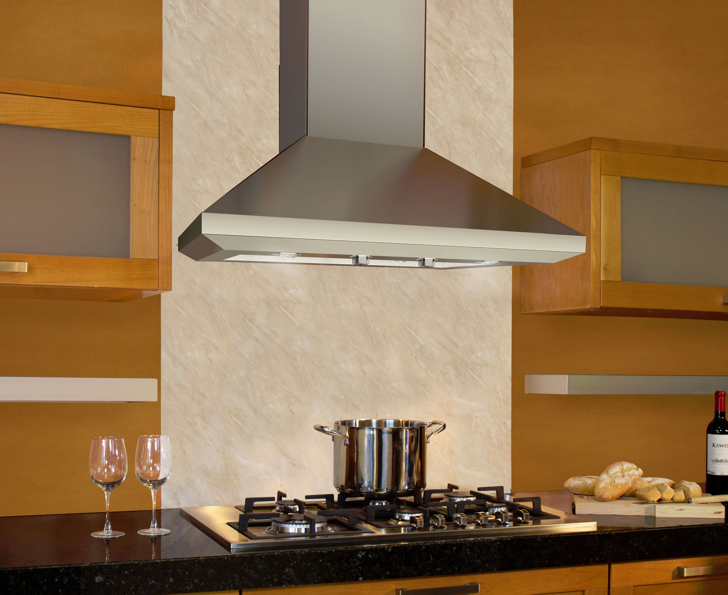 Black Chimney Style Range Hoods ~ Elica eln ss inch wall mount chimney hood with