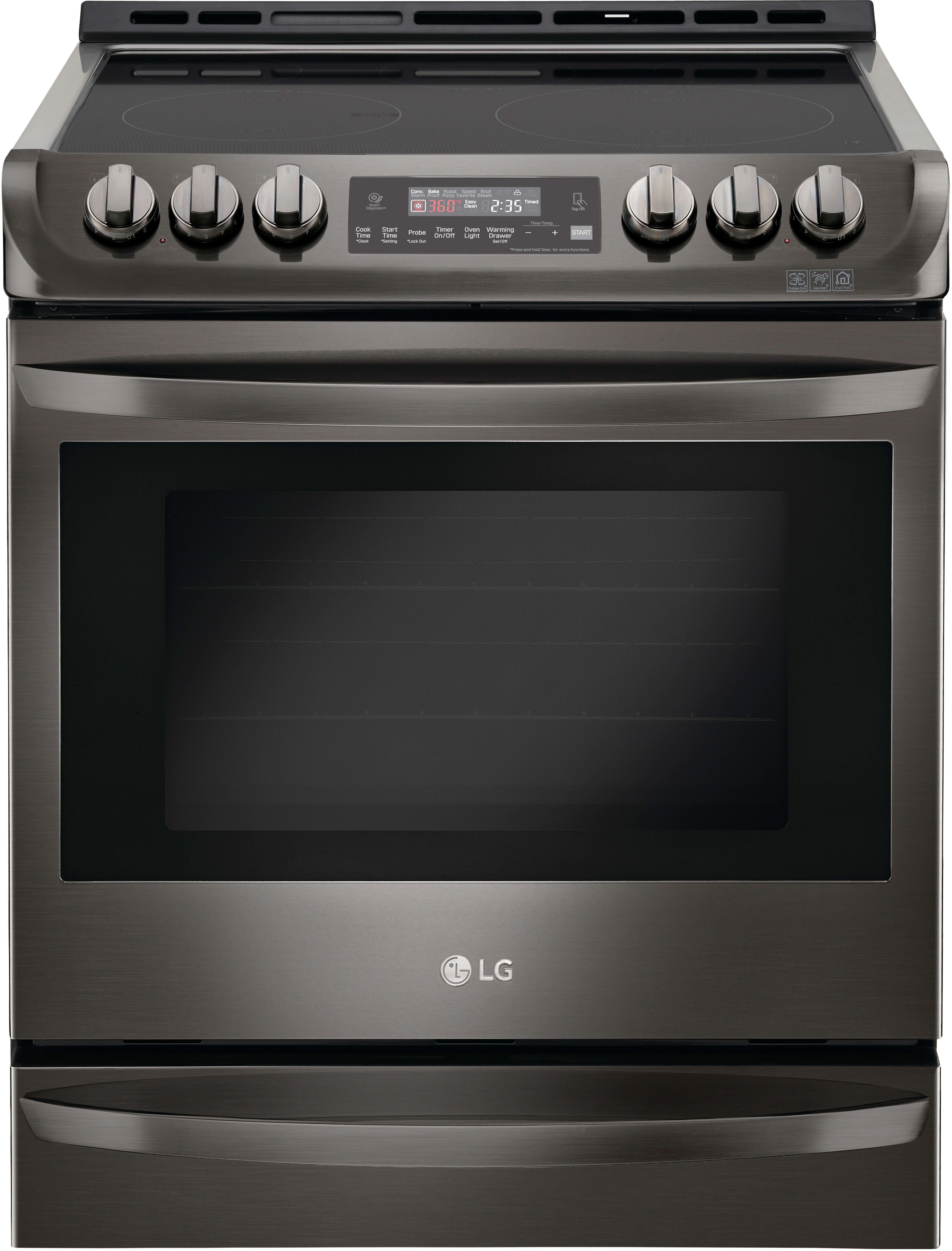 Lg Lse4613bd 30 Inch Slide In Electric Range With Probake Convection Easyclean Wideview Window Conversion Automatic Safety Shut Off
