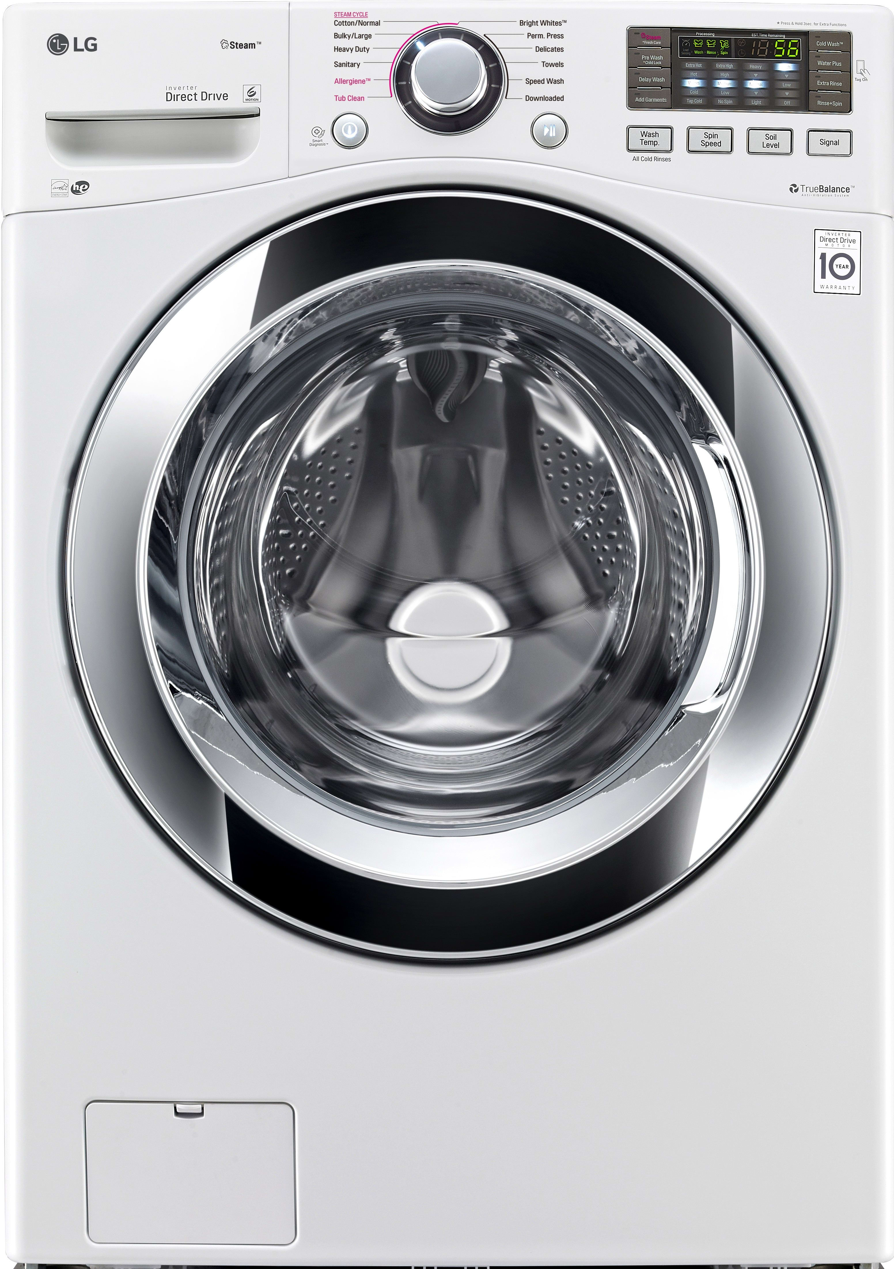 lg wm3670hwa 27 inch 45 cu ft front load washer with steam smart thinq wifi nfc tagon technology sanitary cycle 12 wash cycles allergen cycle