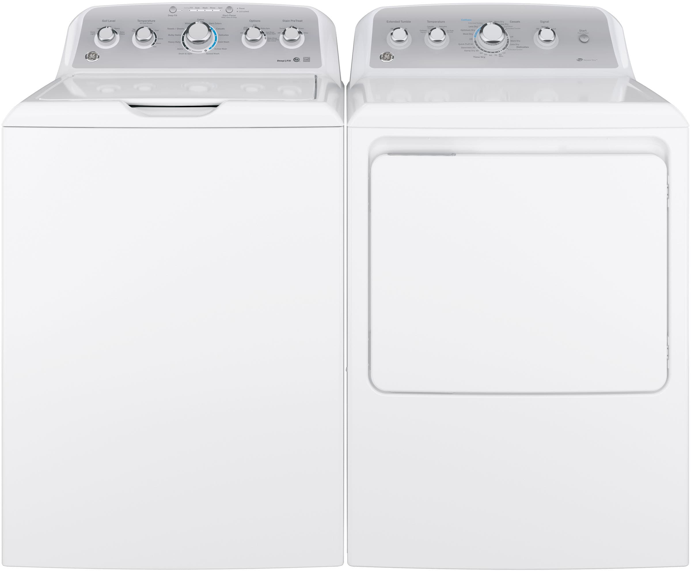 Ge Gewadrew2 Side By Side Washer Amp Dryer Set With Top Load