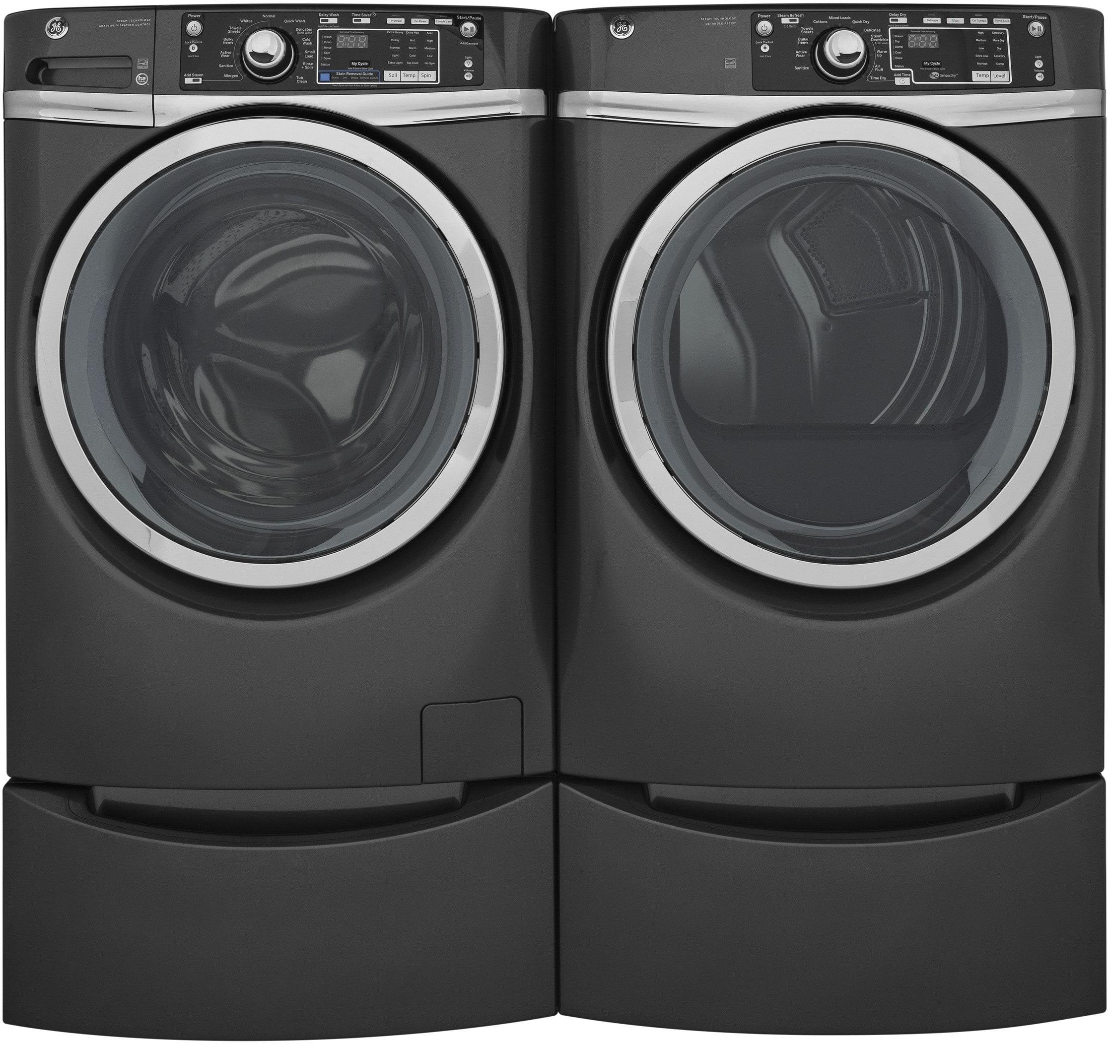 Ge Gewadrgg2 Side By Side On Pedestals Washer Amp Dryer Set