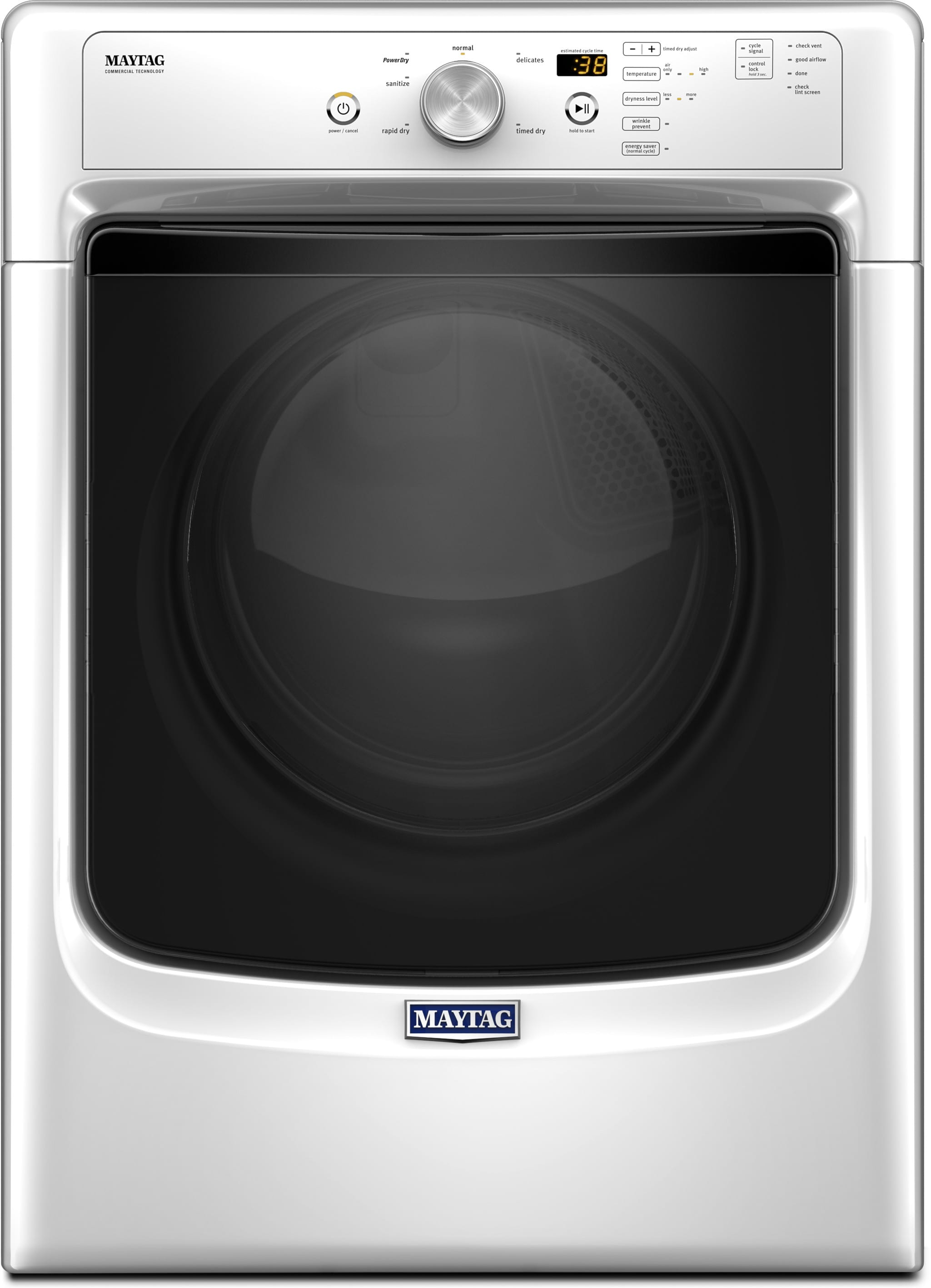 Maytag MED3500FW 27 Inch Electric Dryer with Power Dry Wrinkle