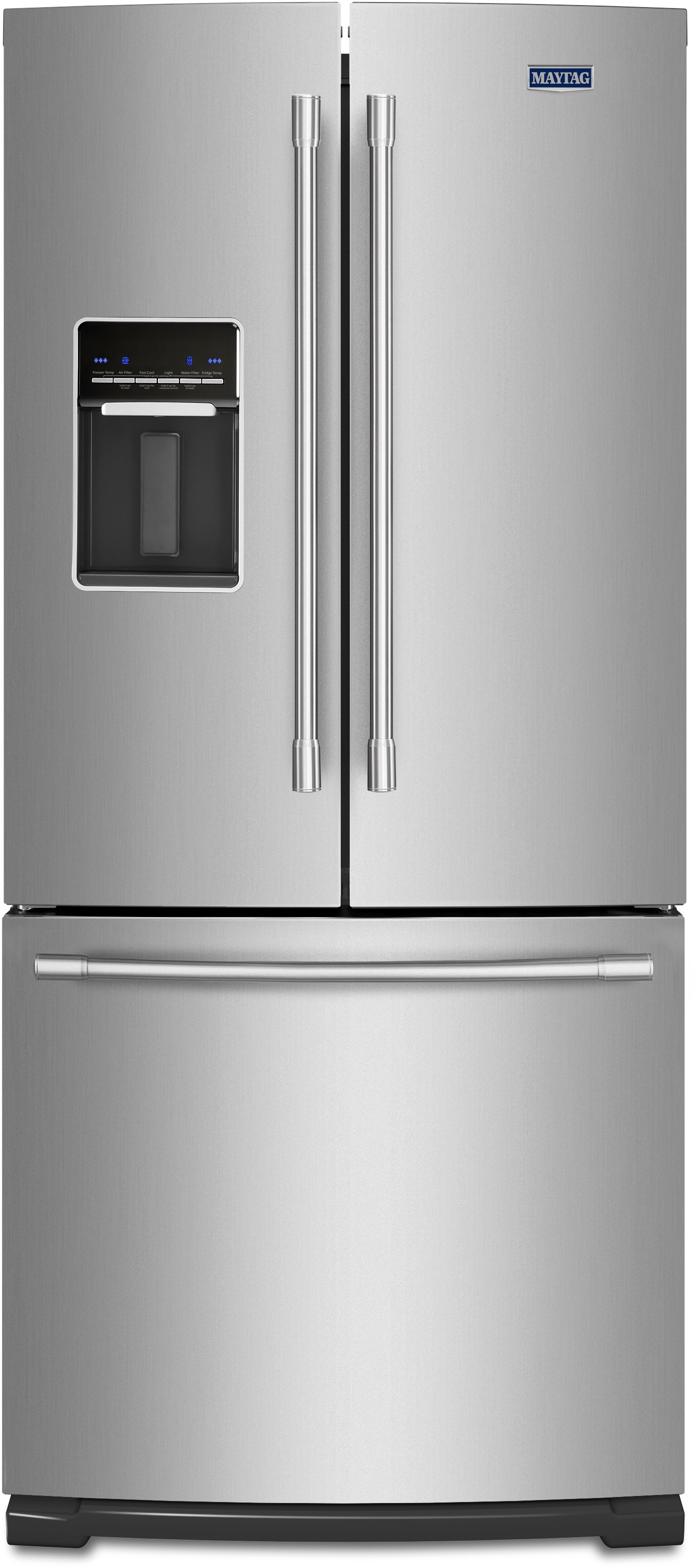 maytag mfw2055frz 30 inch french door with widenfresh deli drawer led lighting humidity controlled freshlock crispers