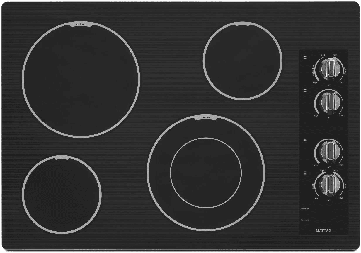Maytag Mec7430bb 30 Inch Smoothtop Electric Cooktop With 4 Radiant Stove Element Wiring Diagram Elements 3200 Watt Power Glass Ceramic Surface And Dishwasher Safe Control