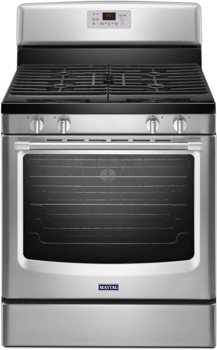 Maytag Mgr8650es 30 Inch Freestanding Gas Range With 4 Sealed Burners 5 8 Cu Ft Evenair Convection Oven 17 000 Btu Burner Max Capacity Rack And