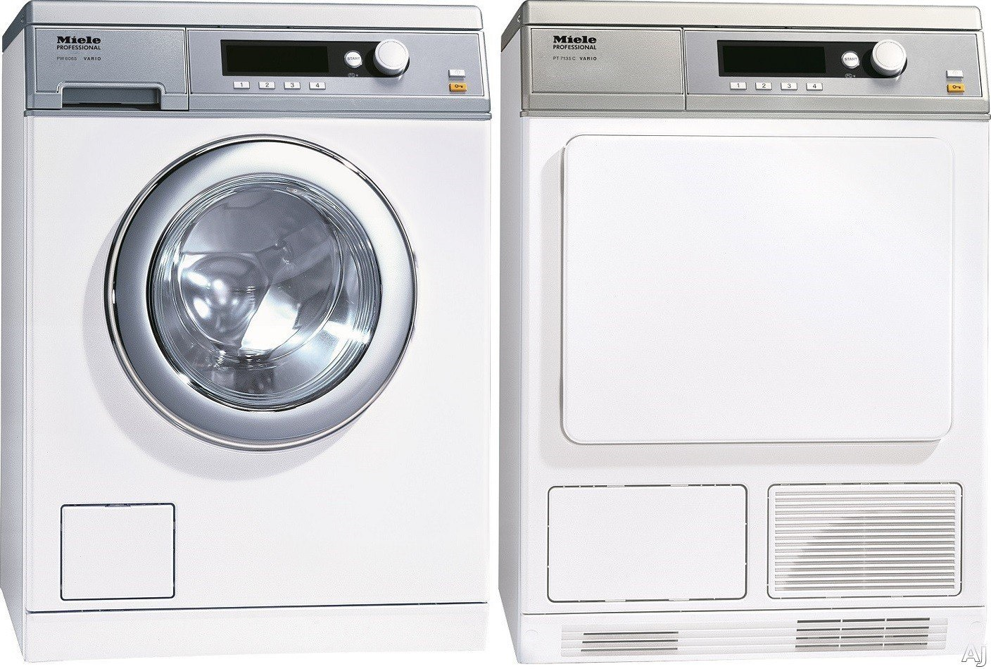 Miele stackable washer dryer ventless - Miele Miwadrew46068 Side By Side Washer Dryer Set With Front Load Washer And Electric Dryer In White