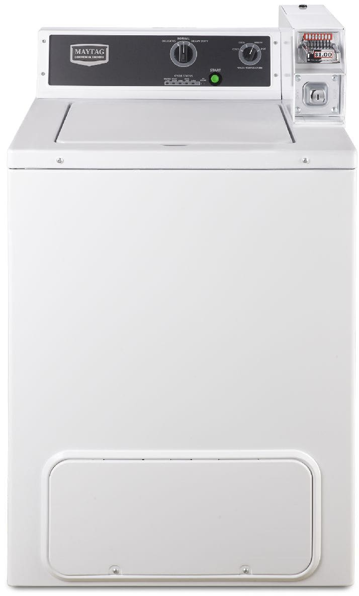 Maytag Mvw18csbww 27 Inch Commercial Top Load Washer With 29 Cu Ft Coin Operated Whirlpool Wiring Diagram Capacity Slide Ready 700 Rpm Spin Speed Manual Knob Controls Smooth Balance