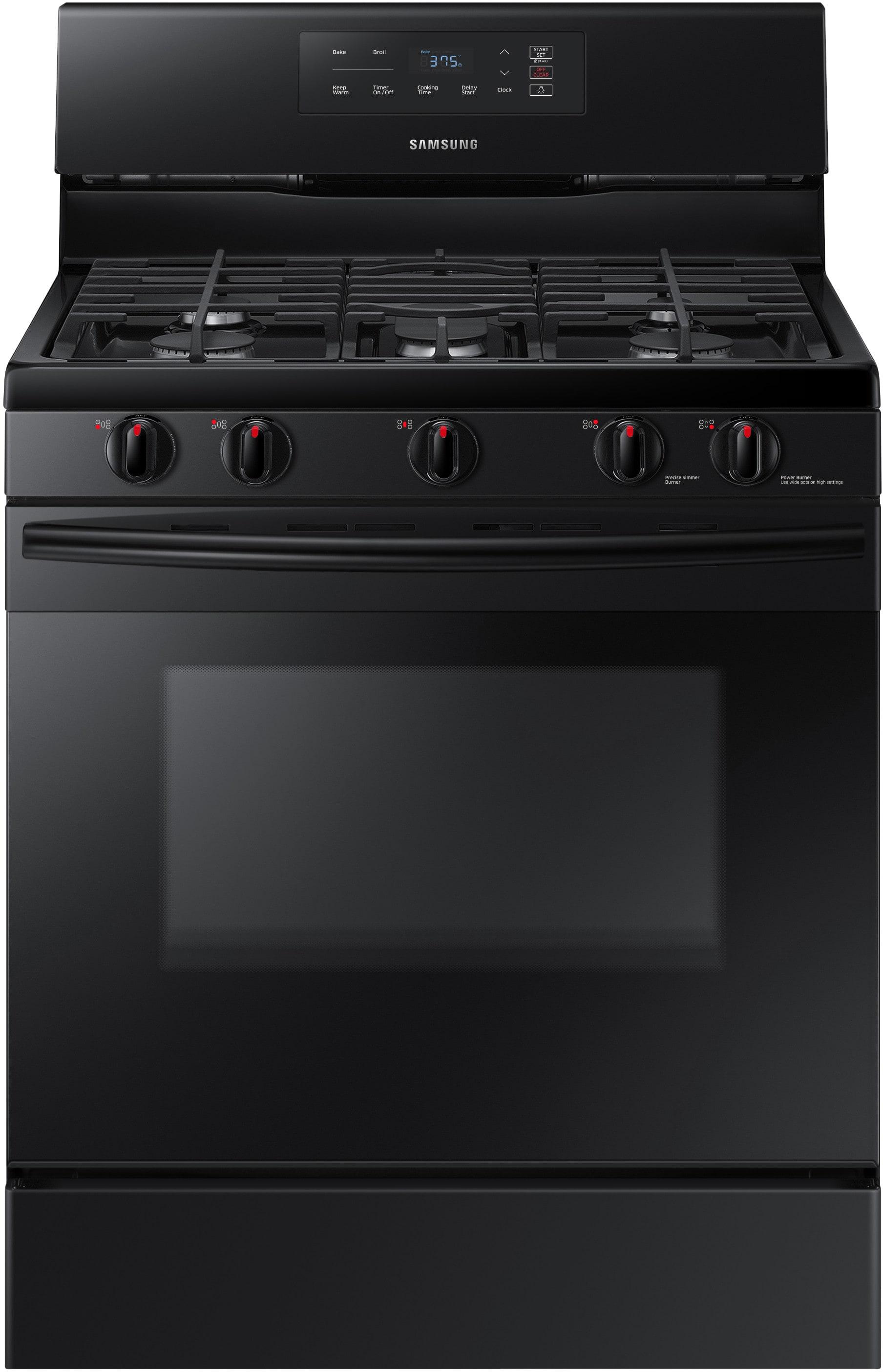 samsung nx58k3310sb 30 inch gas range with 5 sealed burners 5 8 conventional oven 2 racks. Black Bedroom Furniture Sets. Home Design Ideas