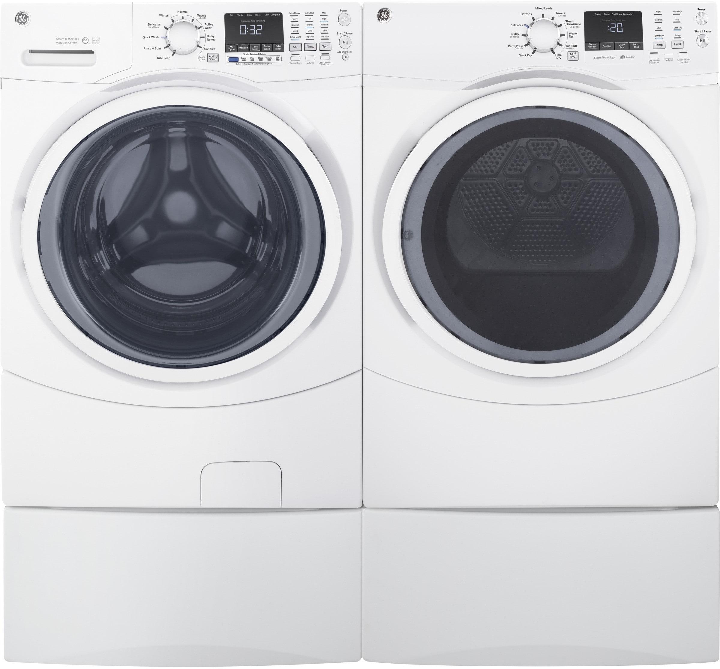 Ge Gewadrgw72 Side By Side On Pedestals Washer Amp Dryer Set