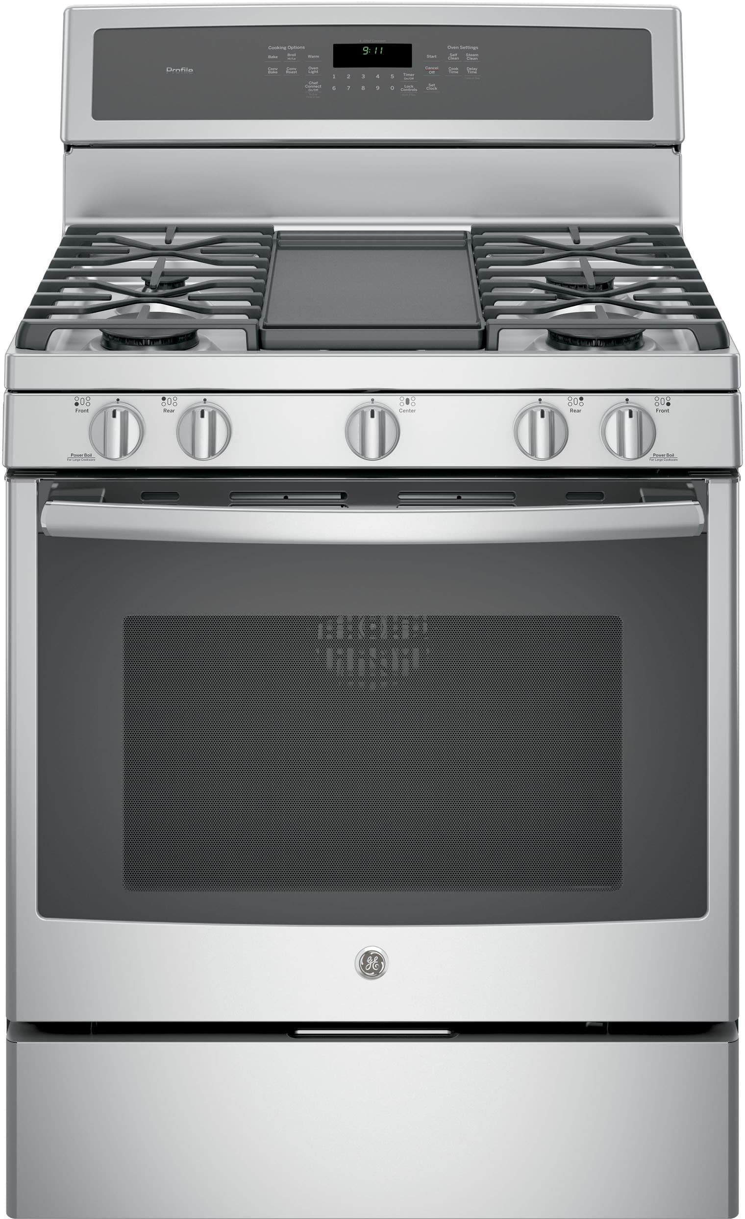 Electric Stove With Grill ~ Ge pgb inch freestanding gas range with chef connect