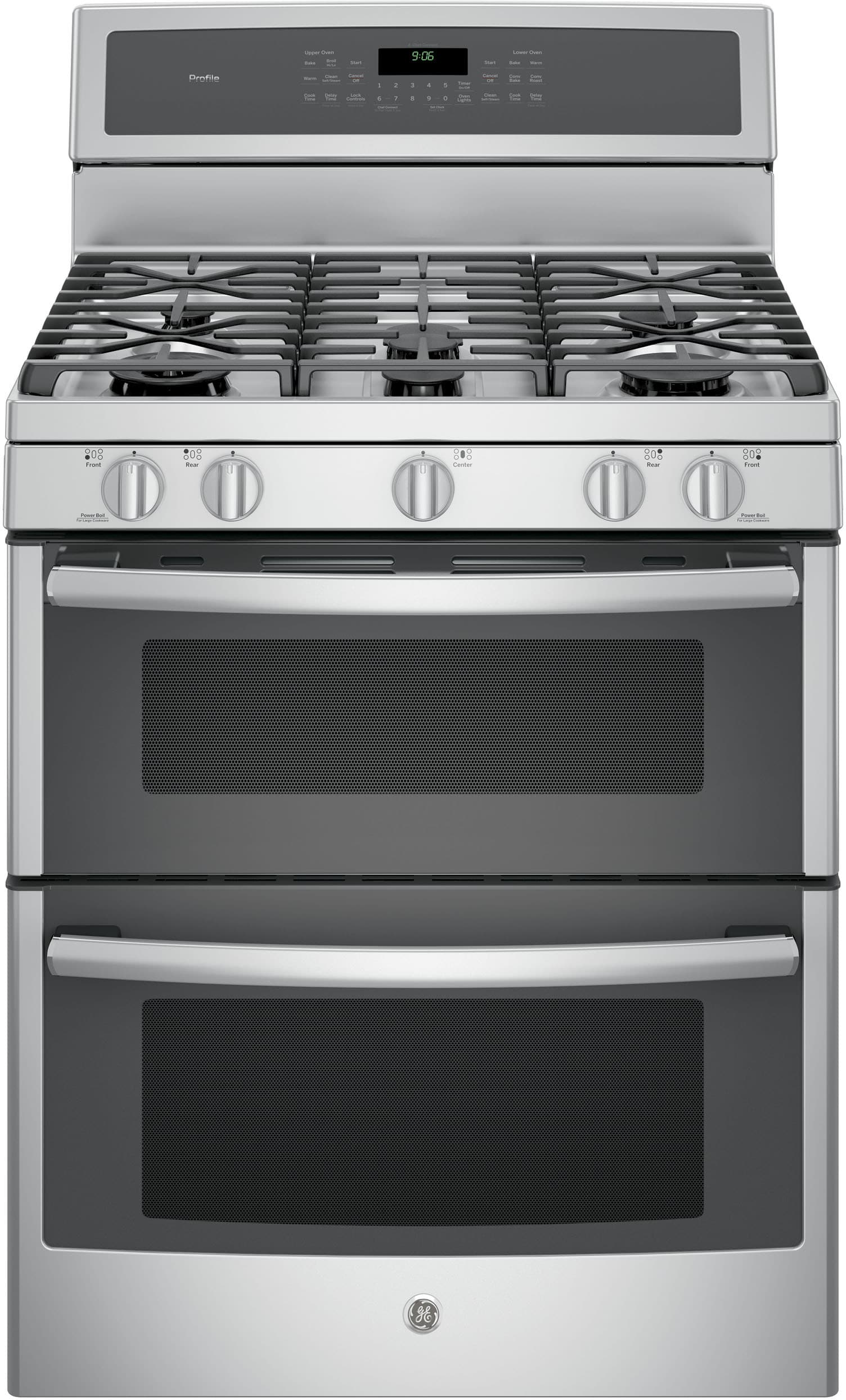 ge pgb980zejss 30 inch freestanding double oven gas range with convection chef connect tri. Black Bedroom Furniture Sets. Home Design Ideas