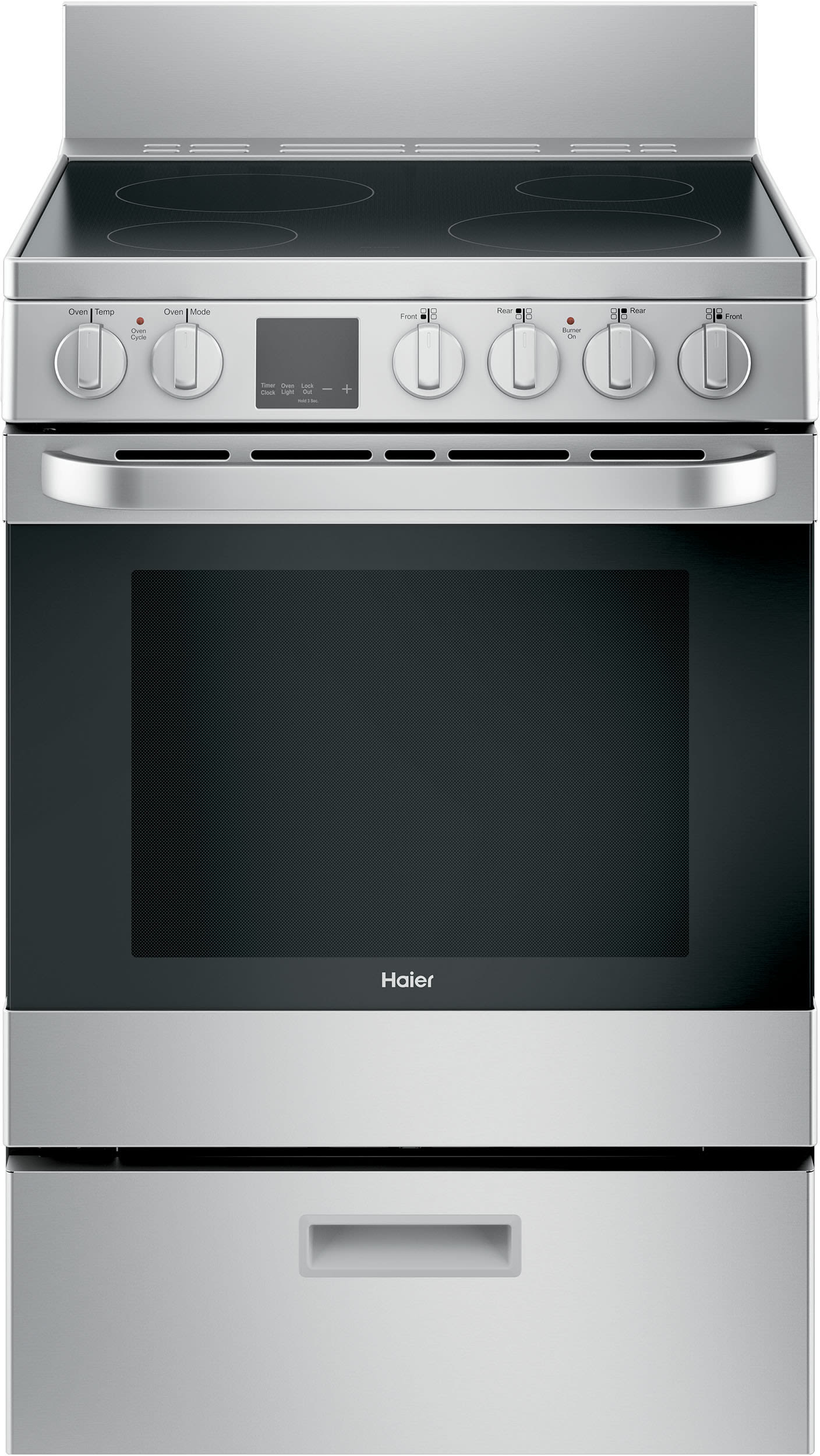haier qas740rmss 24 inch freestanding electric range with convection smoothtop cooktop storage. Black Bedroom Furniture Sets. Home Design Ideas