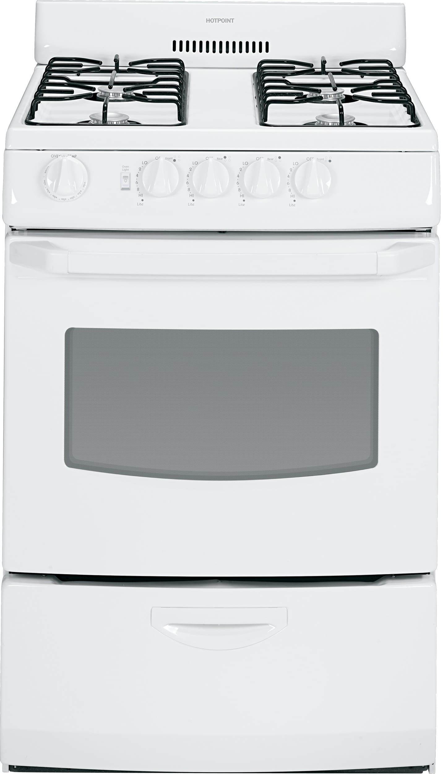 Hotpoint RGA824DEDWW 24 Inch Freestanding Gas Range with 4 Surface ...
