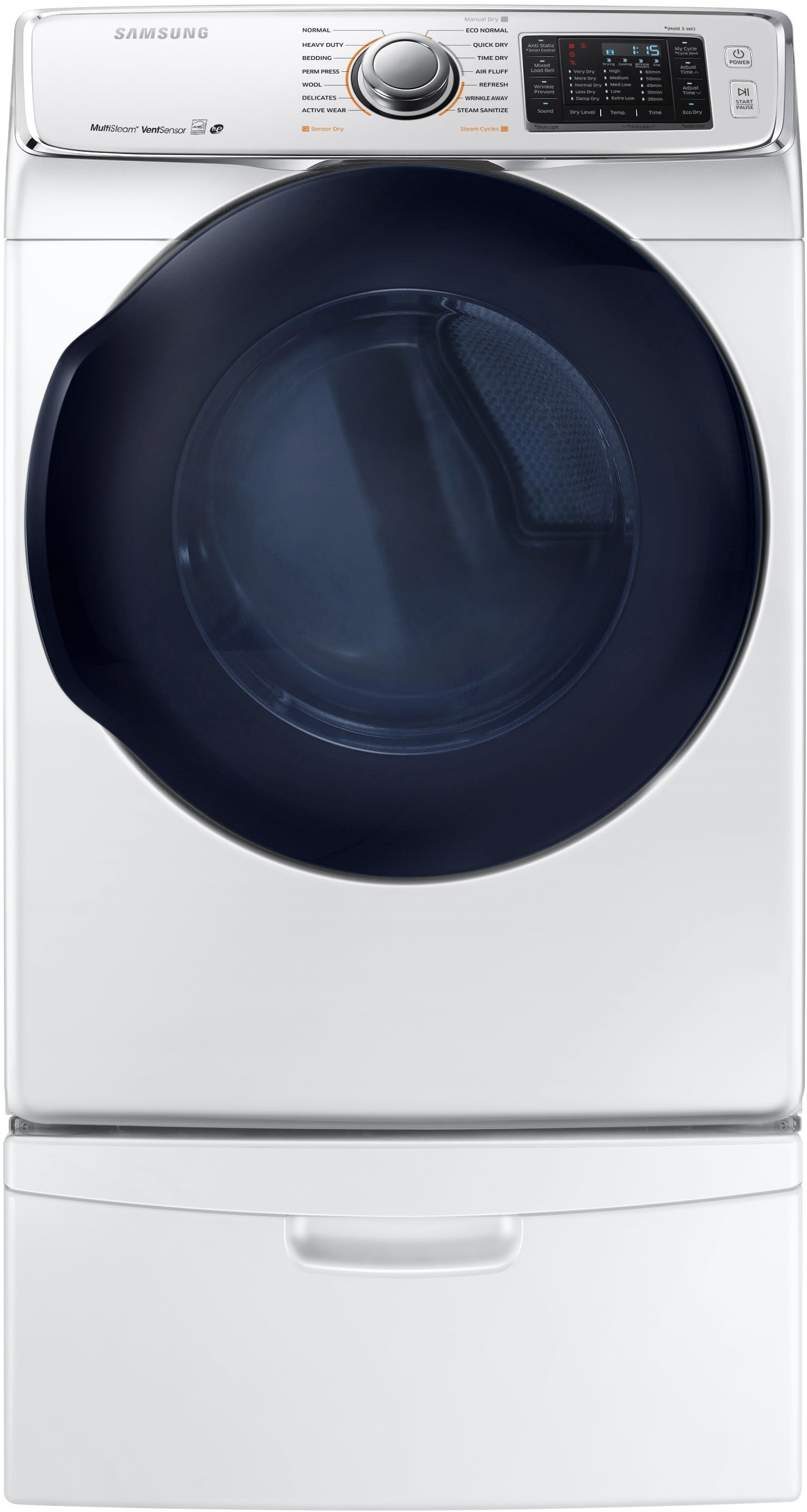 Samsung Dv45k6500ew 27 Inch 7 5 Cu Ft Electric Dryer With Multi Steam Smart Care Eco Dry 7 5 Cu Ft Capacity 14 Dry Cycles 11 Dry Options