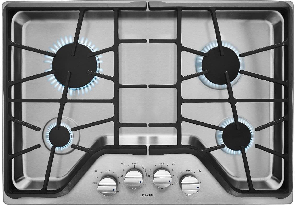 Maytag MGC9530DS 30 Inch Gas Cooktop with 4 Sealed Burners, 5,000 ...