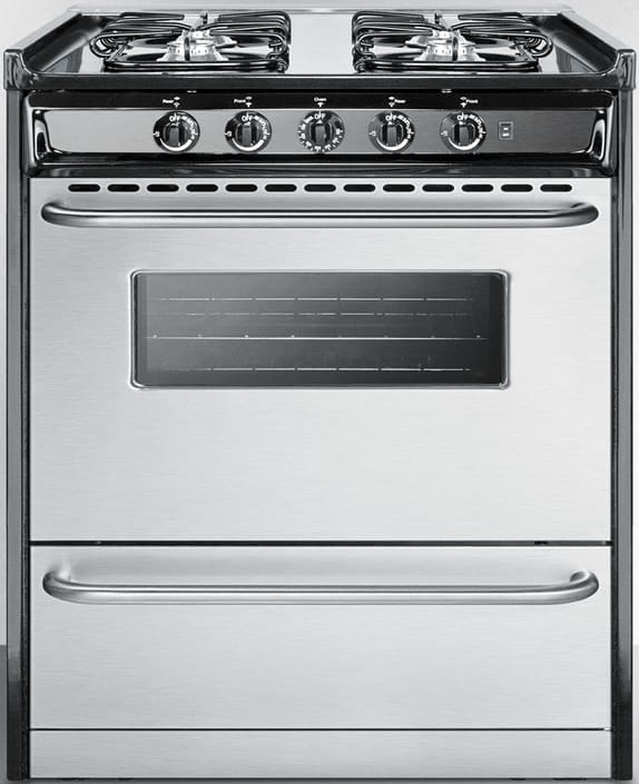 summit tnm21027bfrwy 30 inch slide in gas range with 3 7 cu ft oven capacity 4 sealed burners. Black Bedroom Furniture Sets. Home Design Ideas