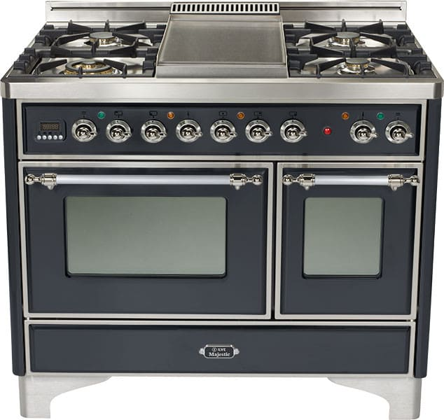 ilve umd100fmpmx 40 inch traditional style dual fuel range with 4 sealed burners griddle 2 44
