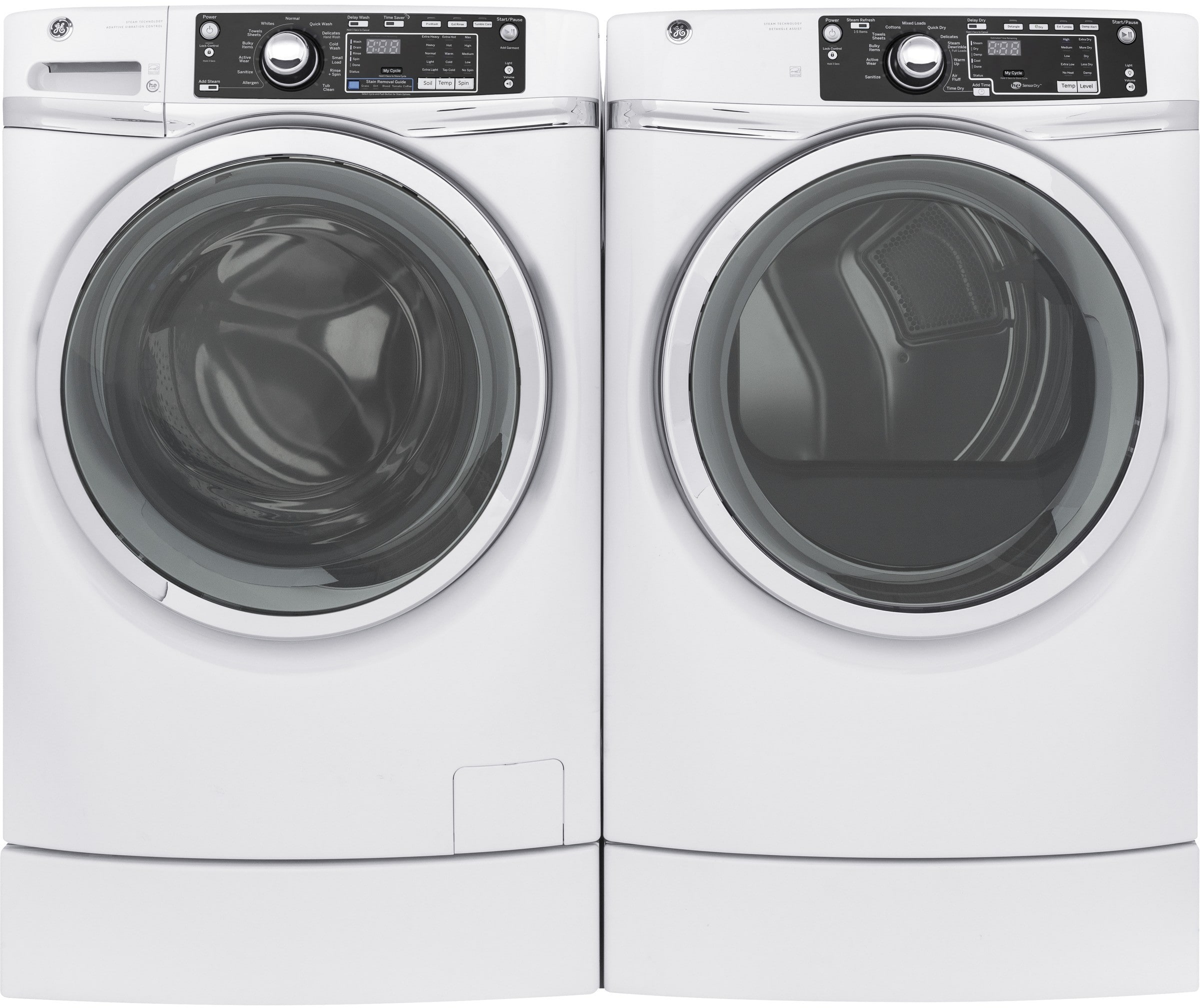 ge gewadrew91 side by side washer dryer set with front load washer and electric dryer in white. Black Bedroom Furniture Sets. Home Design Ideas