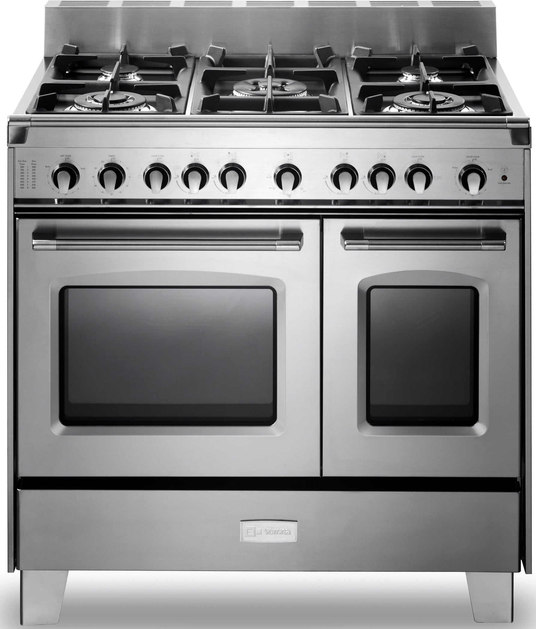 verona 36 inch prostyle gas range with 4 cu ft total oven capacity 5 sealed burners convection main oven infrared broiler bell timer