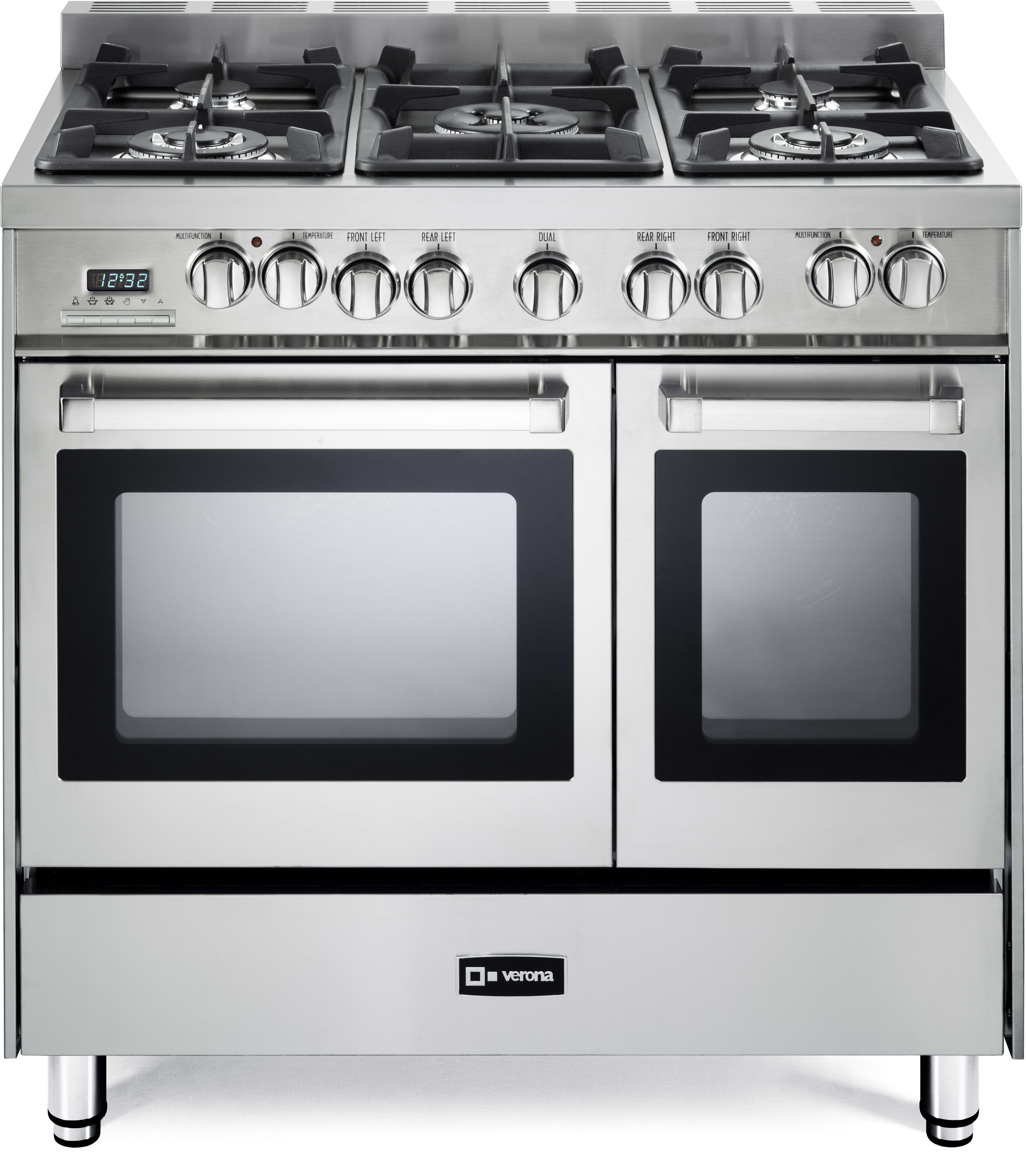 verona vefsge365ndss 36 inch pro style dual fuel double oven range with 5 sealed burners 3 9 cu. Black Bedroom Furniture Sets. Home Design Ideas