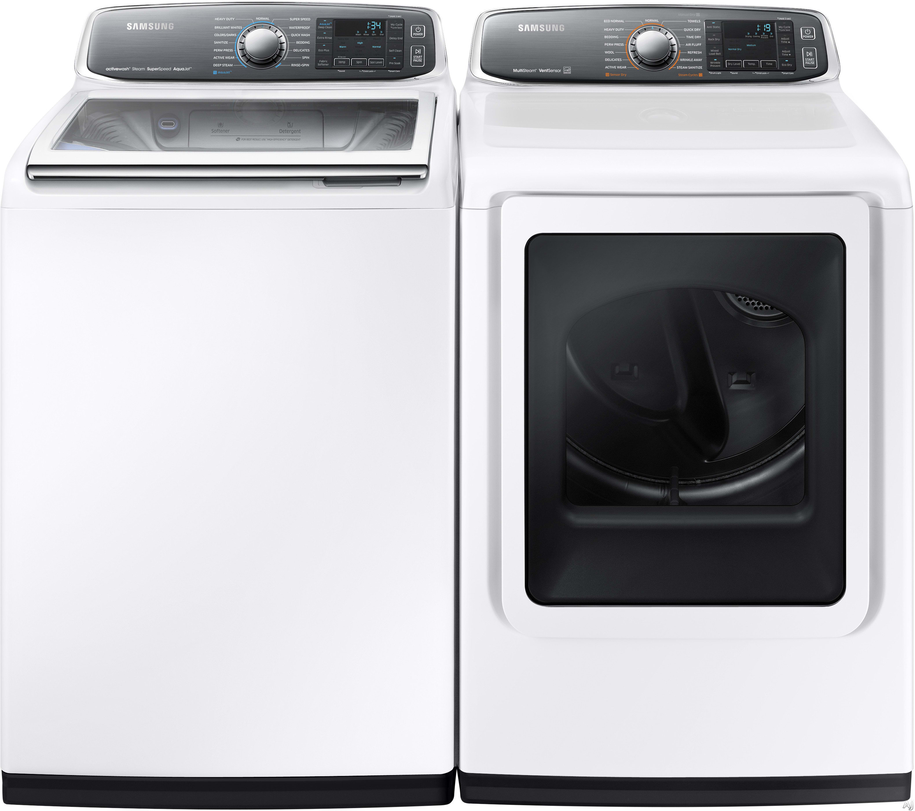 Samsung SAWADRGW3 Side-by-Side Washer & Dryer Set with Top Load Washer and  Gas Dryer in White
