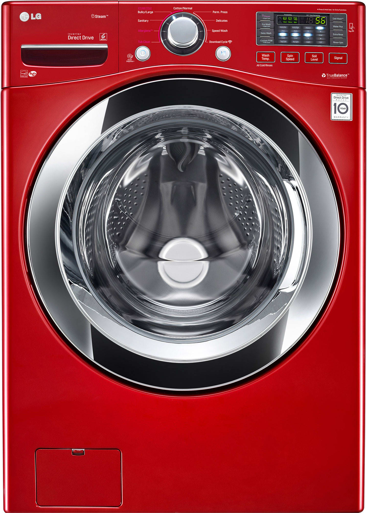 front load washer with 7 wash cycles rpm steam cycle allergiene cycle senseclean lodecibel quiet operation neverust stainless steel drum and