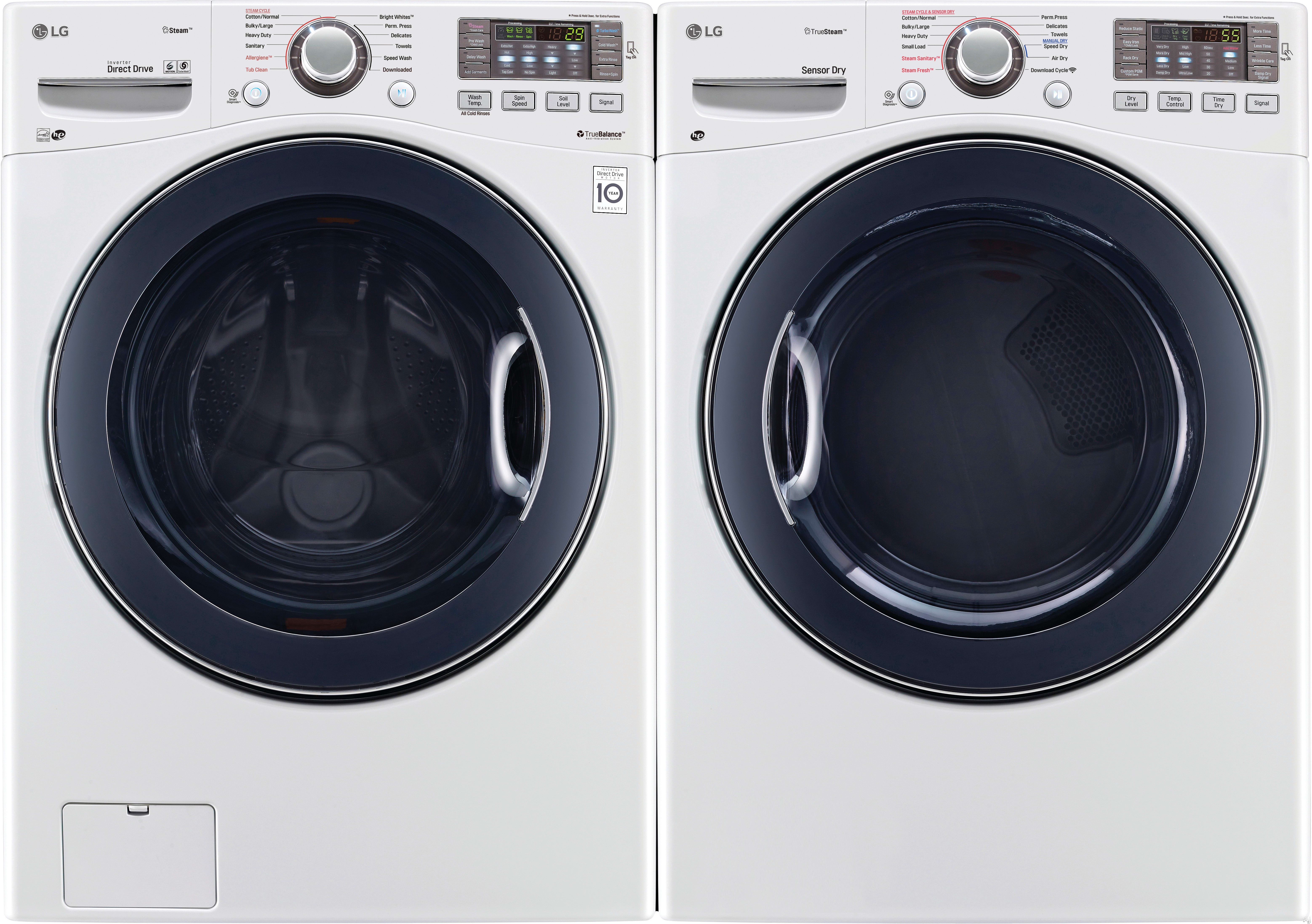 Lg Lgwadrgw92 Side By Washer Dryer Set With Front Load And Gas In White