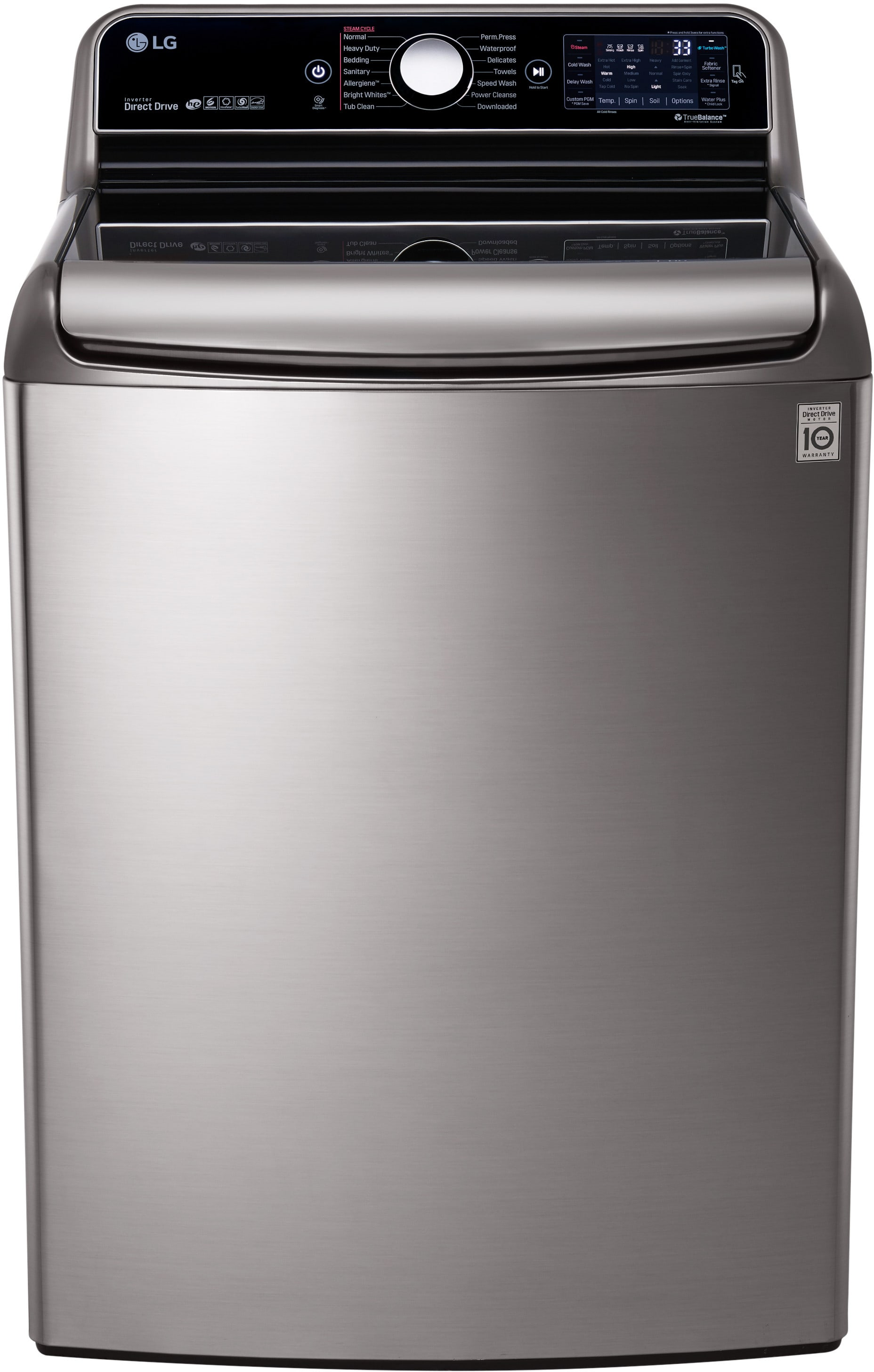 lg wt7700hva 29 inch 5 7 cu ft top load washer with 14 wash cycles