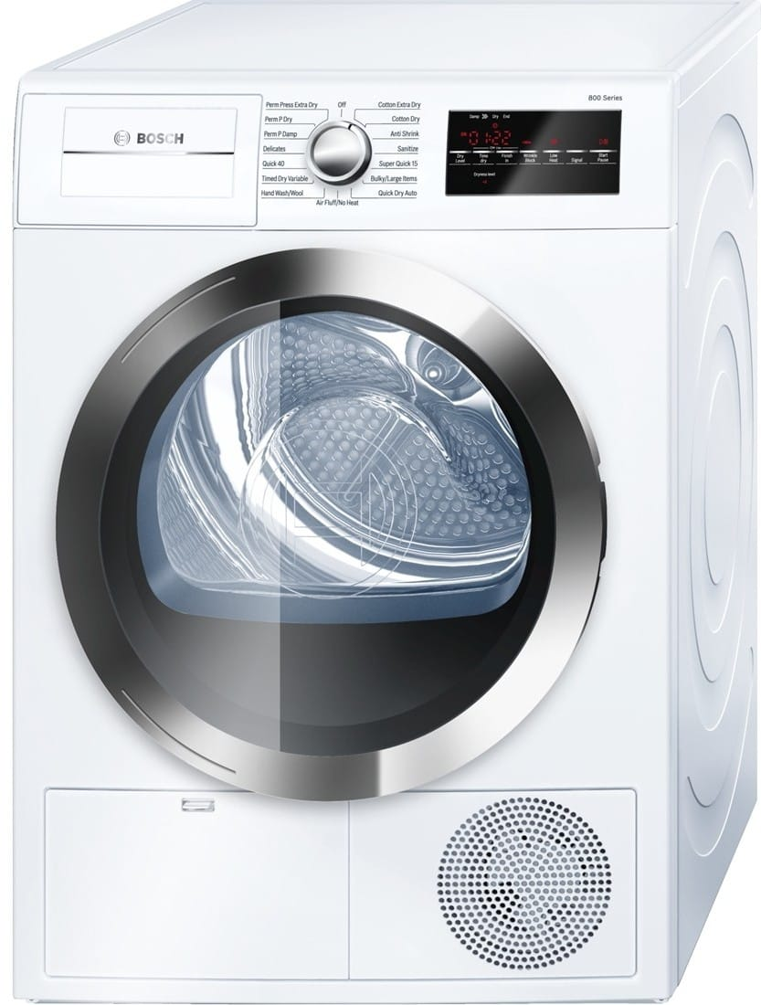 Bosch WTG86402UC 24 Inch Electric Dryer with Condensation Drying, Anti  Shrink, Super Quick Cycle, 15 Total Cycles, 4.0 cu. ft.