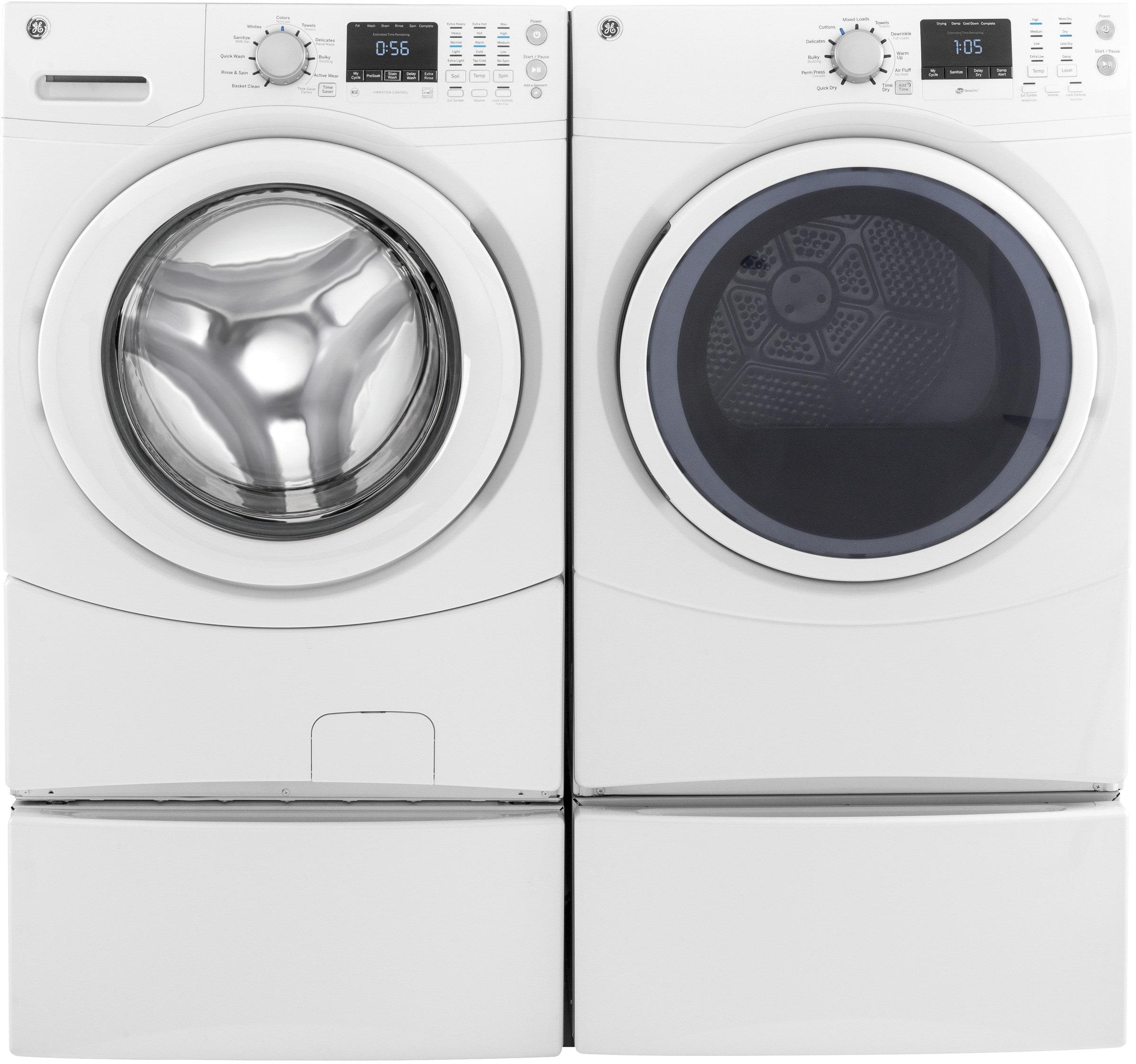 Ge Gewadrgw51 Side By Side On Pedestals Washer Amp Dryer Set