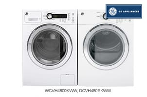 GE White Front-Load Washer + Dryer Pair