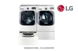 LG White Front-Load Washer + Dryer Pair