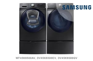 Samsung Black Stainless Steel Front Load AddWash Laundry Pair