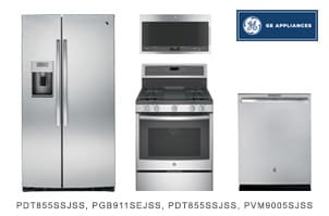GE Stainless Steel Kitchen Appliance Package with Side by Side Refrigerator